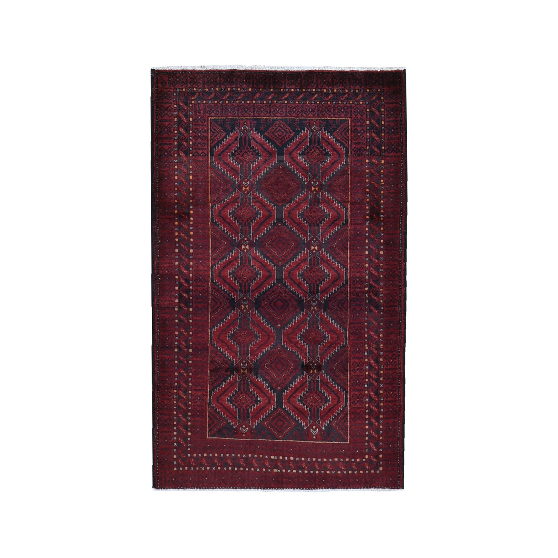 """3'3""""x5'5"""" Red Vintage Persian Baluch Geometric Design Pure Wool Hand Knotted Oriental Rug"""