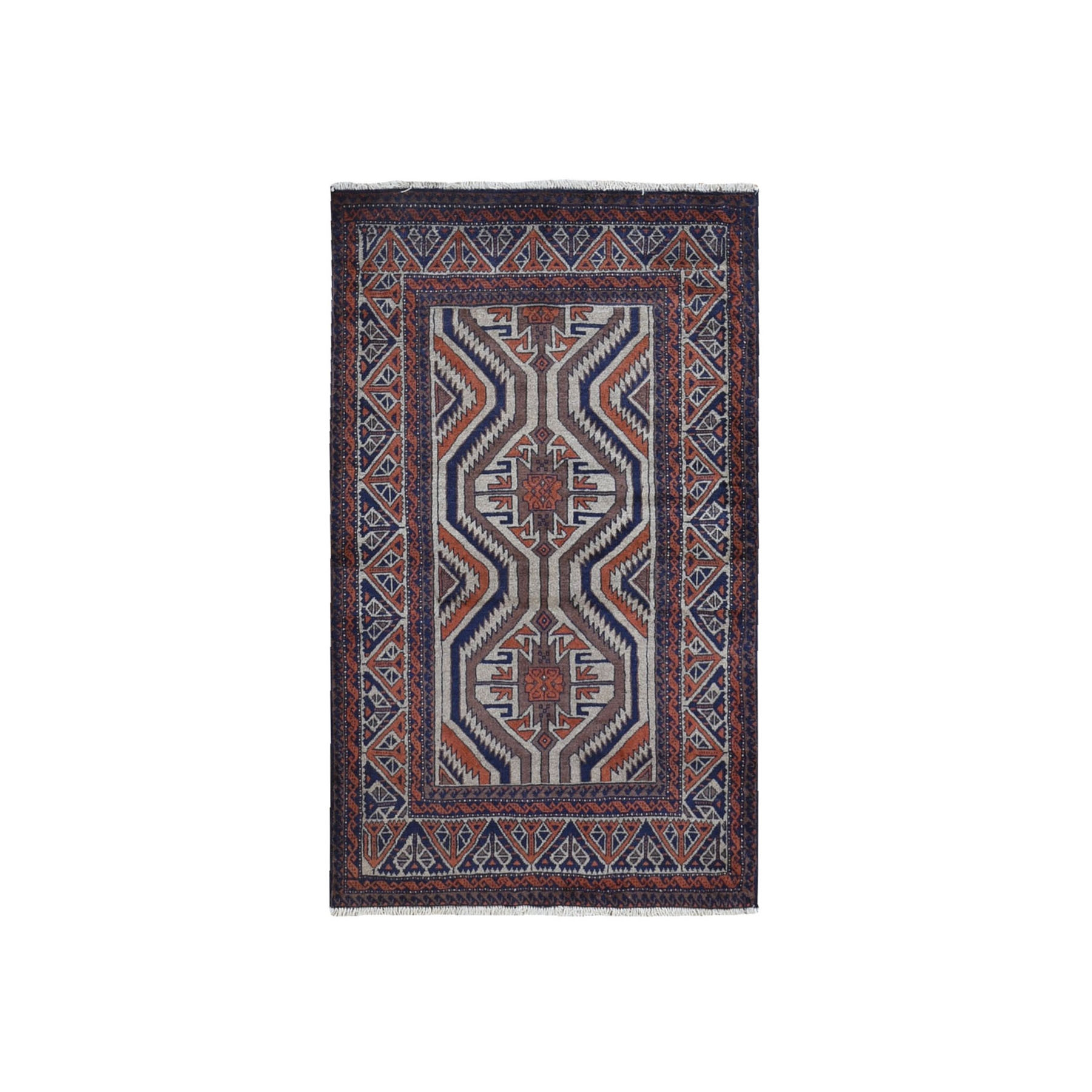 """3'x5'2"""" Vintage Persian Baluch Organic Wool Earth Tones Hand Knotted Oriental Rug"""