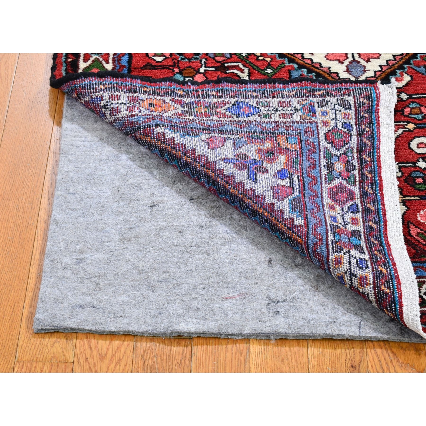 "3'7""x5'1"" Red New Persian Hamadan with Geometric Design Pure Wool Hand Knotted Oriental Rug"