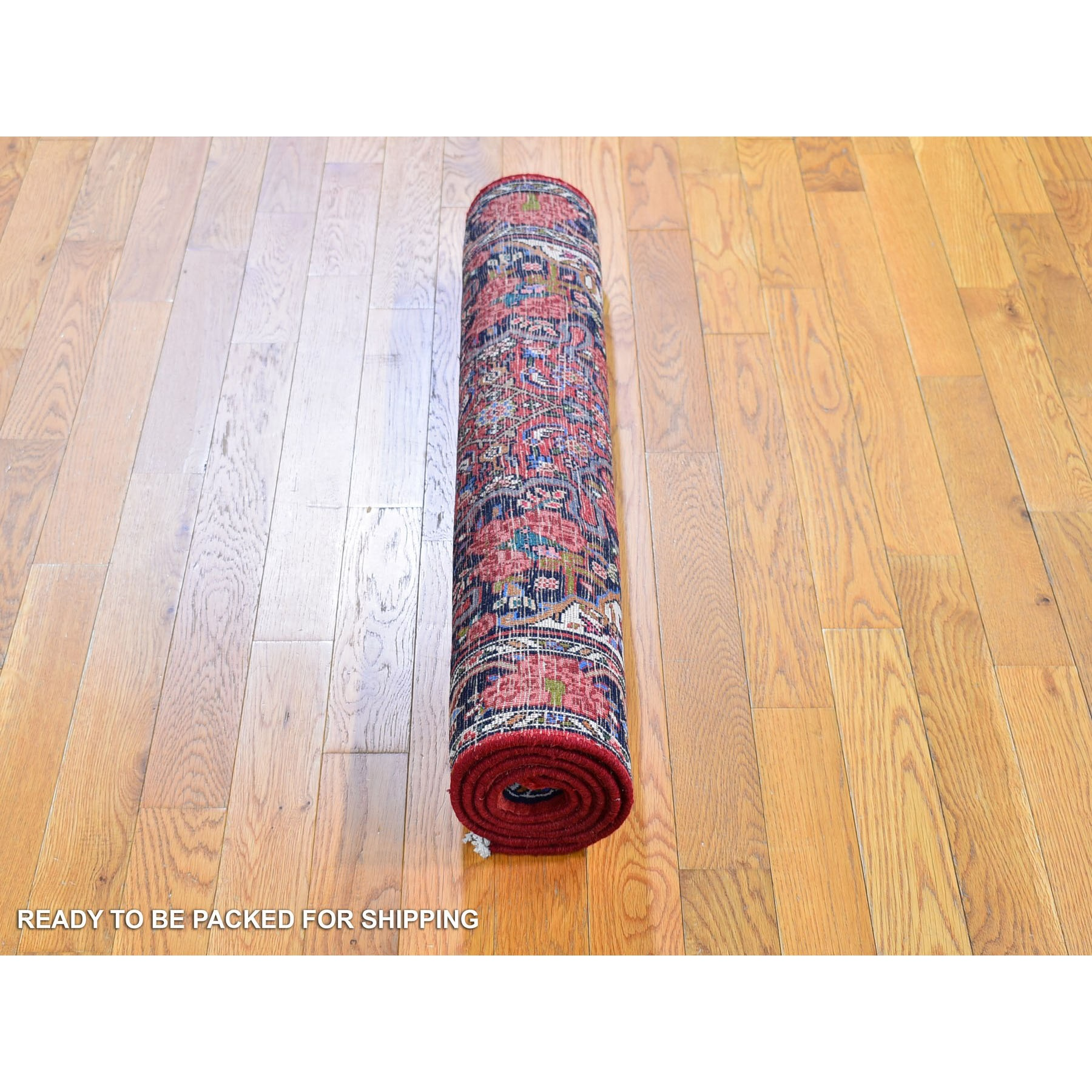 "3'3""x5'1"" Red Vintage Persian Bijar with Flower Design Pure Wool Hand Knotted Oriental Rug"