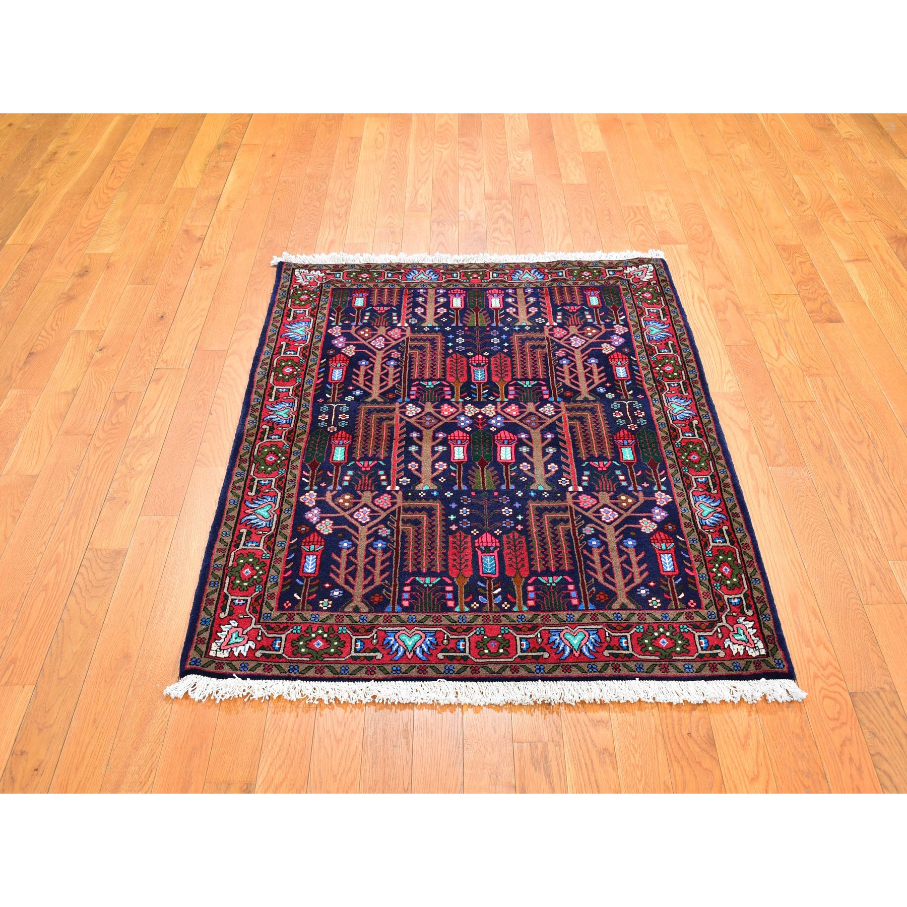 "3'7""x5' Midnight Blue Tree Design New Persian Hamadan Organic Wool Hand Knotted Oriental Rug"