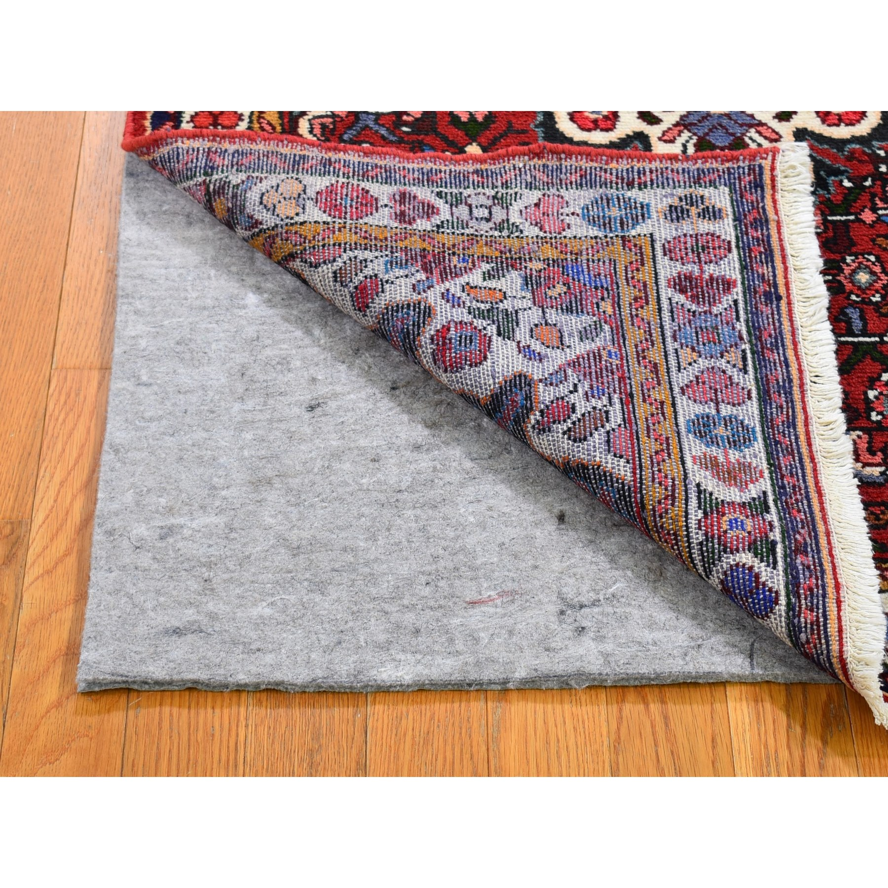 "3'4""x4'9"" Red New Persian Hamadan Flower Medallion Pure Wool Hand Knotted Oriental Rug"