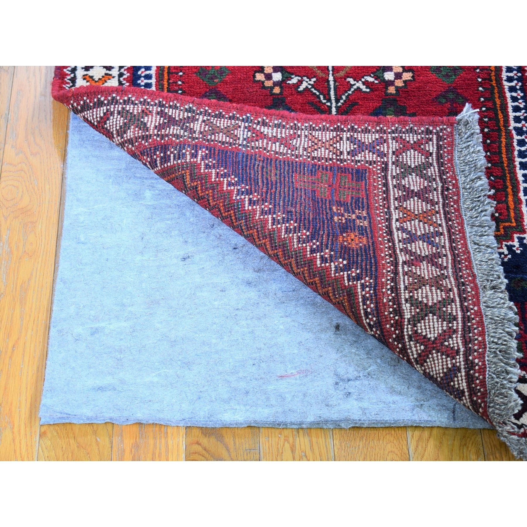 """2'7""""x9'4"""" Red New Persian Shiraz Runner Geometric Design Pure Wool Hand Knotted Oriental Rug"""