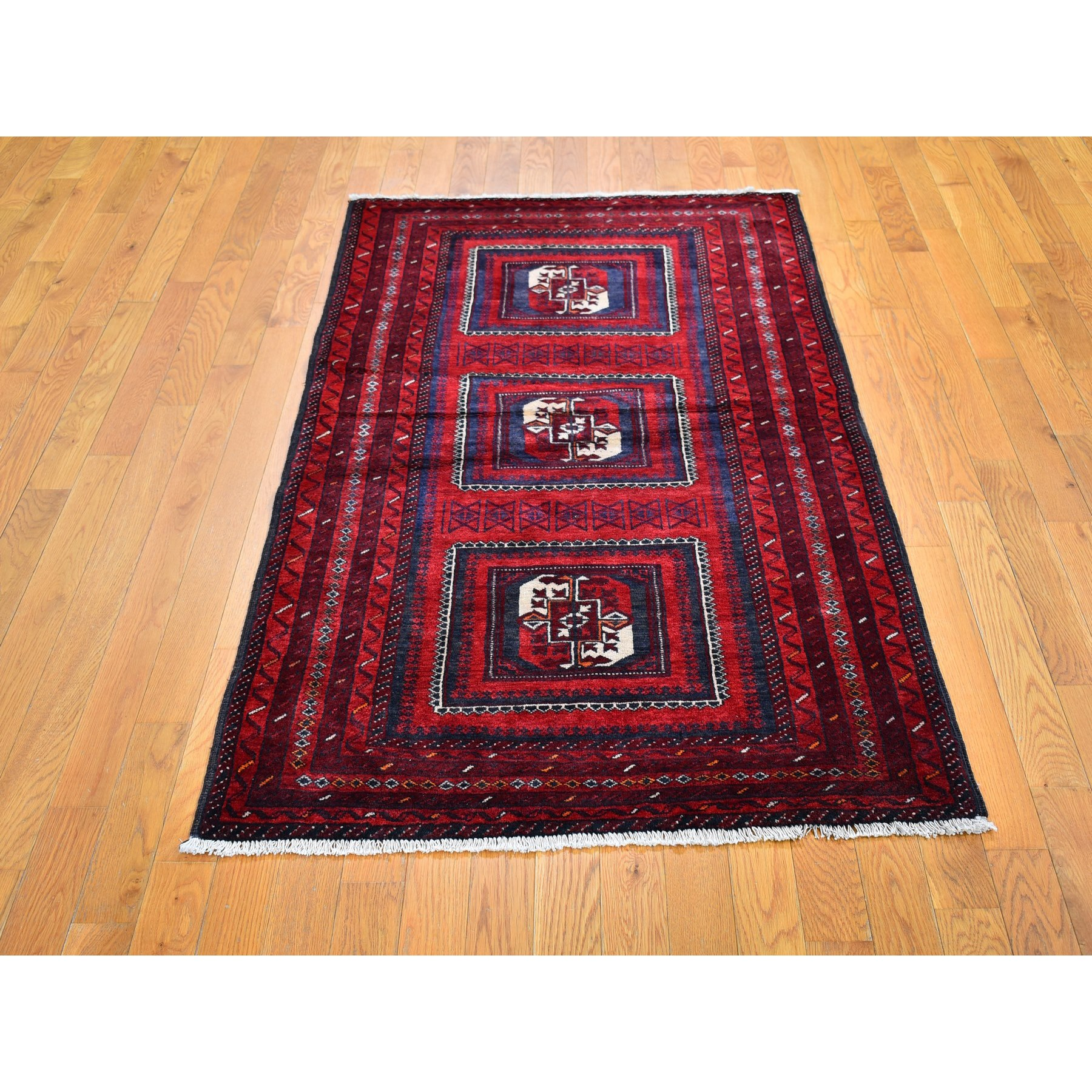"3'5""x6'1"" Vintage Persian Baluch with Bashir Design Red Organic Wool Hand Knotted Oriental Rug"
