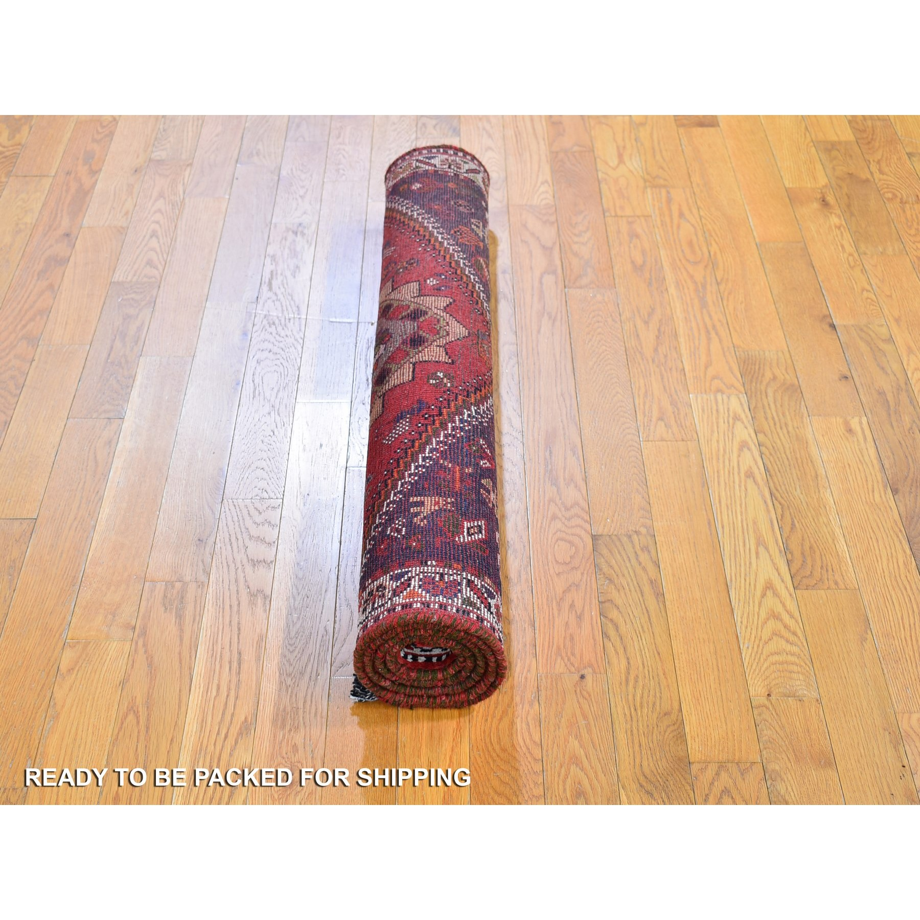 "3'10""x5'6"" Red New Persian Shiraz Animal Figurines Natural Wool Hand Knotted Oriental Rug"