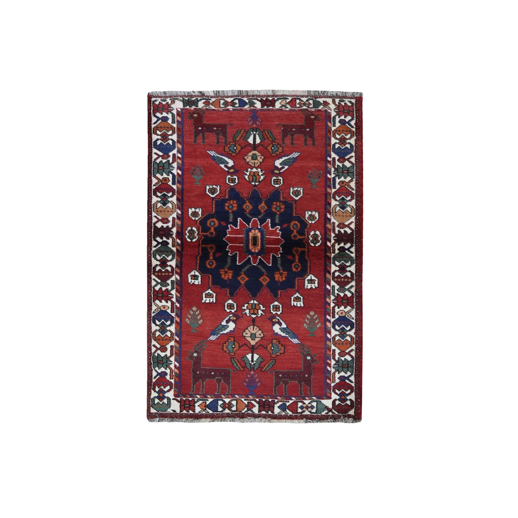"""3'7""""x5'4"""" New Persian Afshar Natural Wool with Bird and Deer Figurines Hand Knotted Oriental Rug"""