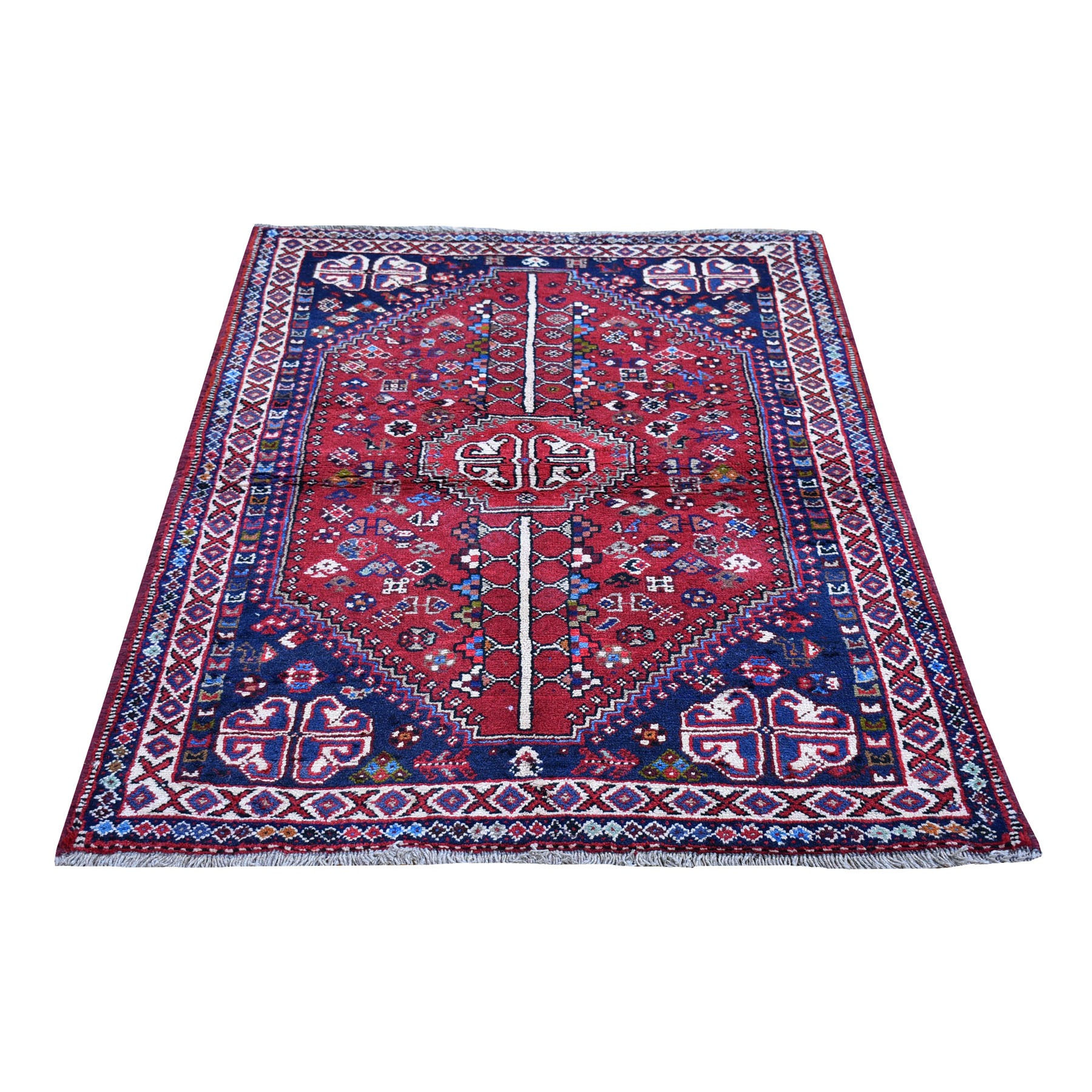 """3'5""""x5'4"""" Red New Persian Shiraz Geometric Design Pure Wool Hand Knotted Oriental Rug"""