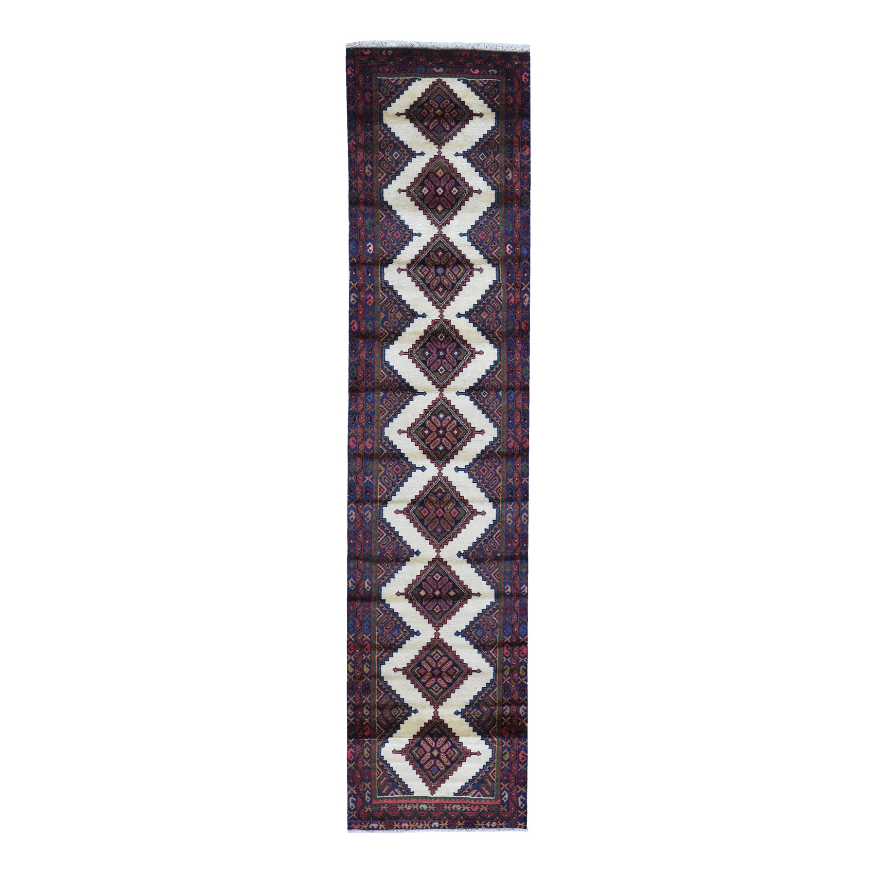 """2'6""""x10'5"""" New Persian Hamadan with Serrated Medallions Design Pure Wool Hand Knotted Oriental Rug"""