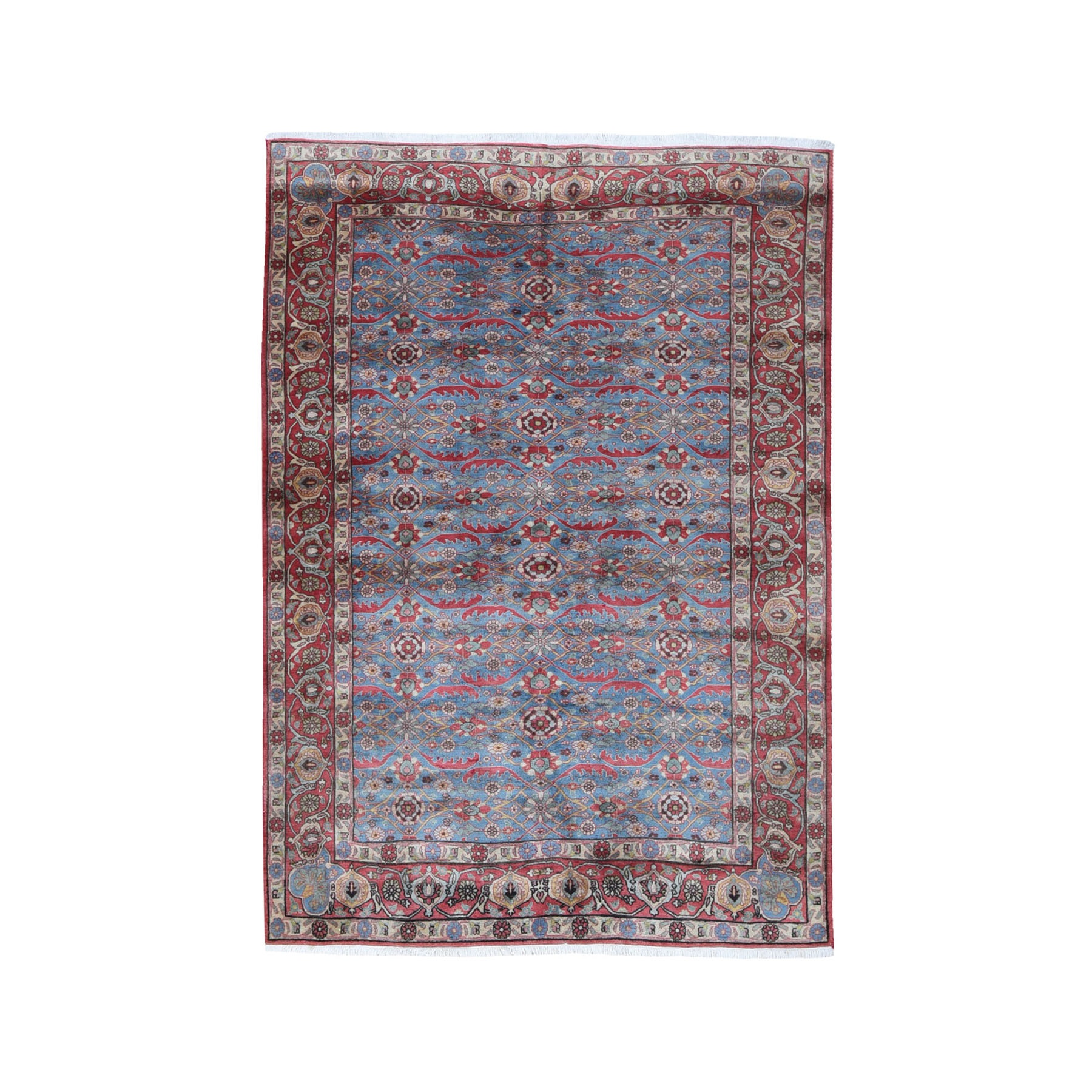 """4'9""""x7' Vintage Persian Tabriz All Over Design Light Blue Dense Weave Pure Wool Hand Knotted Oriental Rug"""