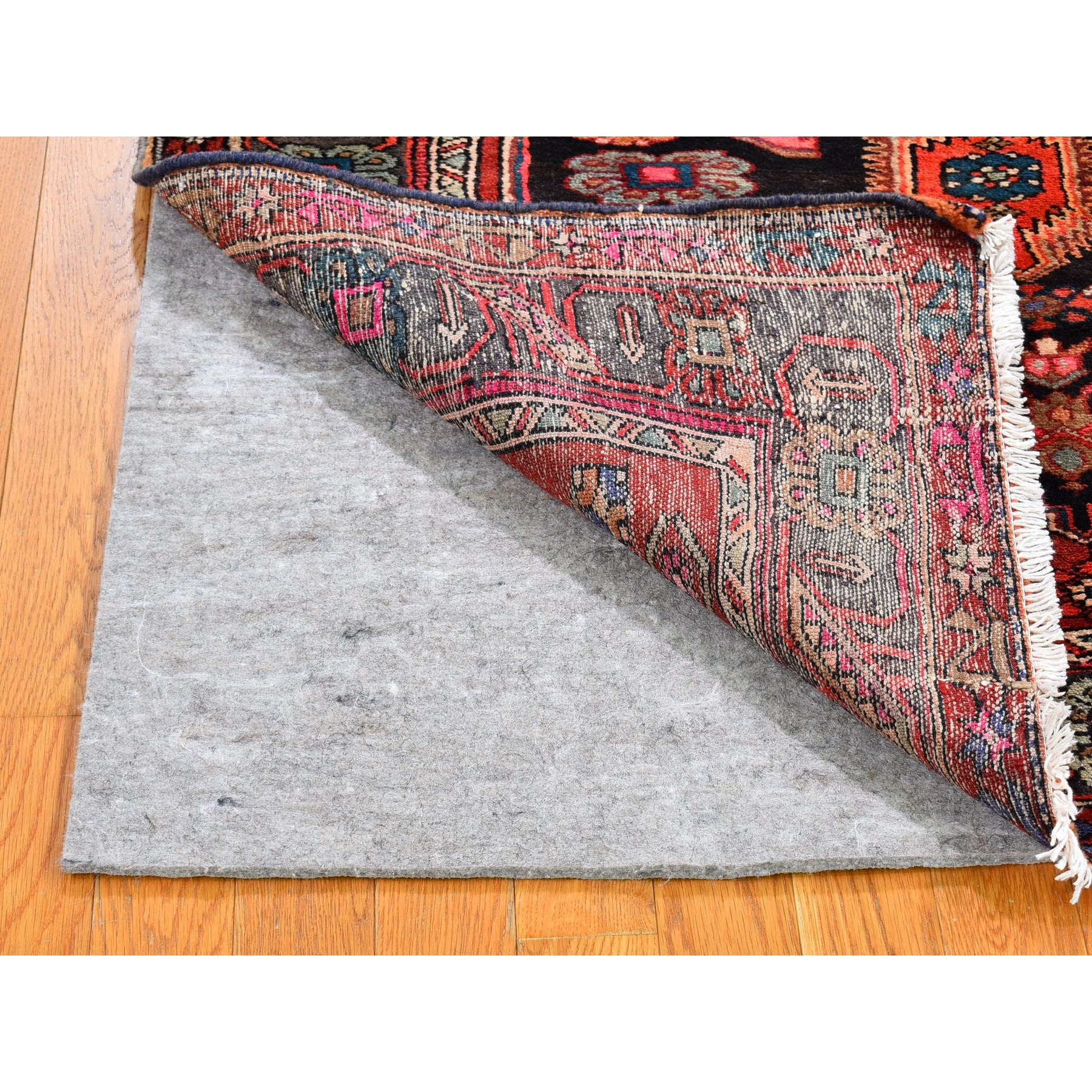 "4'3""x6'8"" Red Vintage Persian Hamadan Good Condition But Skewed Pure Wool Hand Knotted Oriental Rug"