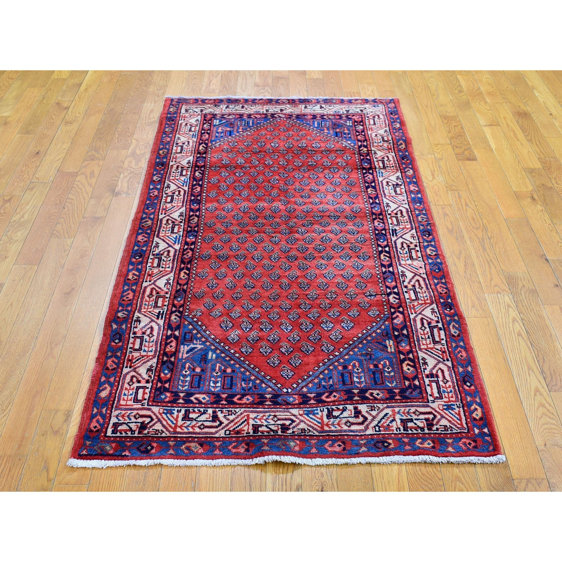 """3'6""""x7'1"""" Vintage Persian Sarouk Mir Repetitive Design Pure Wool Hand Knotted Oriental Rug"""