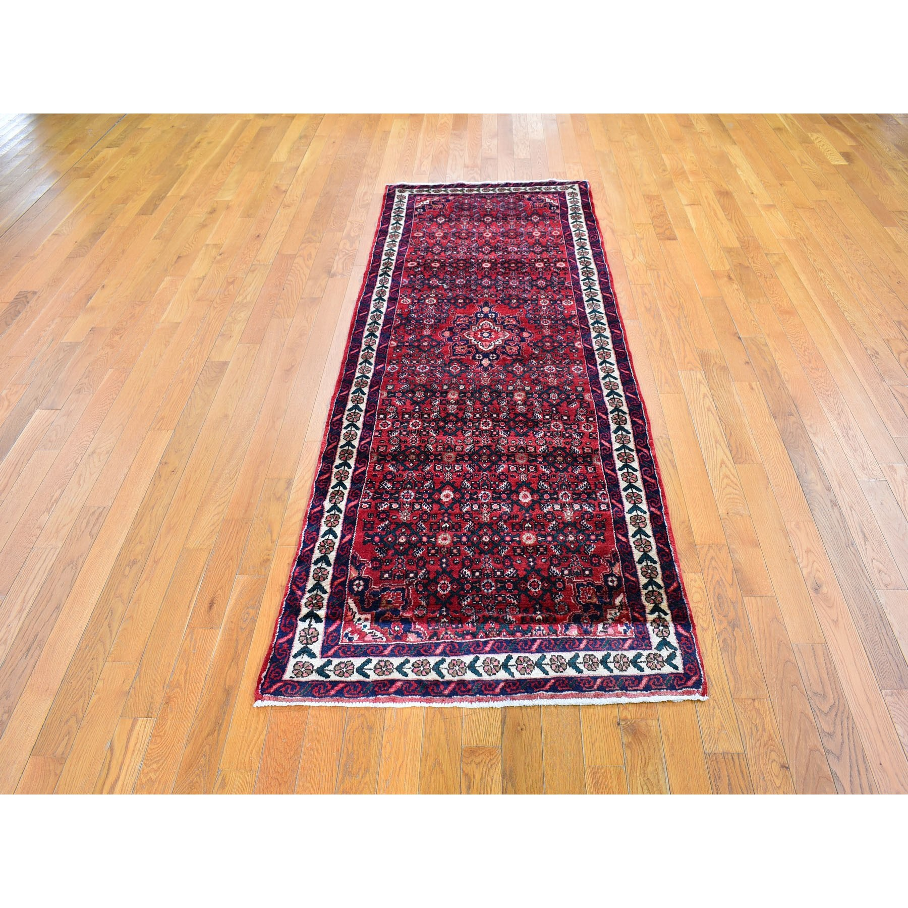 """3'2""""x8'6"""" New Persian with Mahi Fish Design Wide Runner Pure Wool Hand Knotted Oriental Rug"""