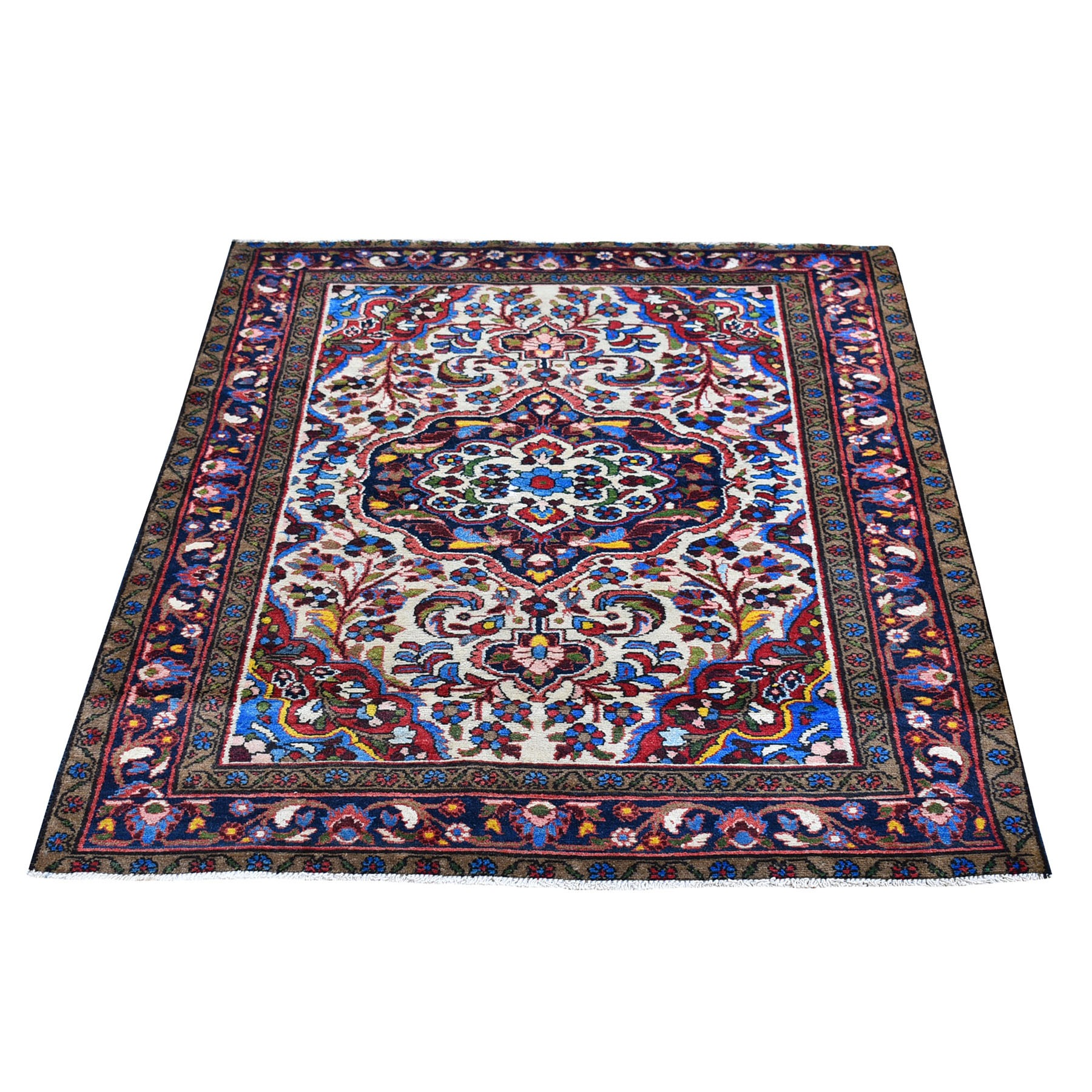 """3'6""""x4'10"""" New Persian Malayer Ivory with a Flower Medallion Pure Wool Hand Knotted Oriental Rug"""