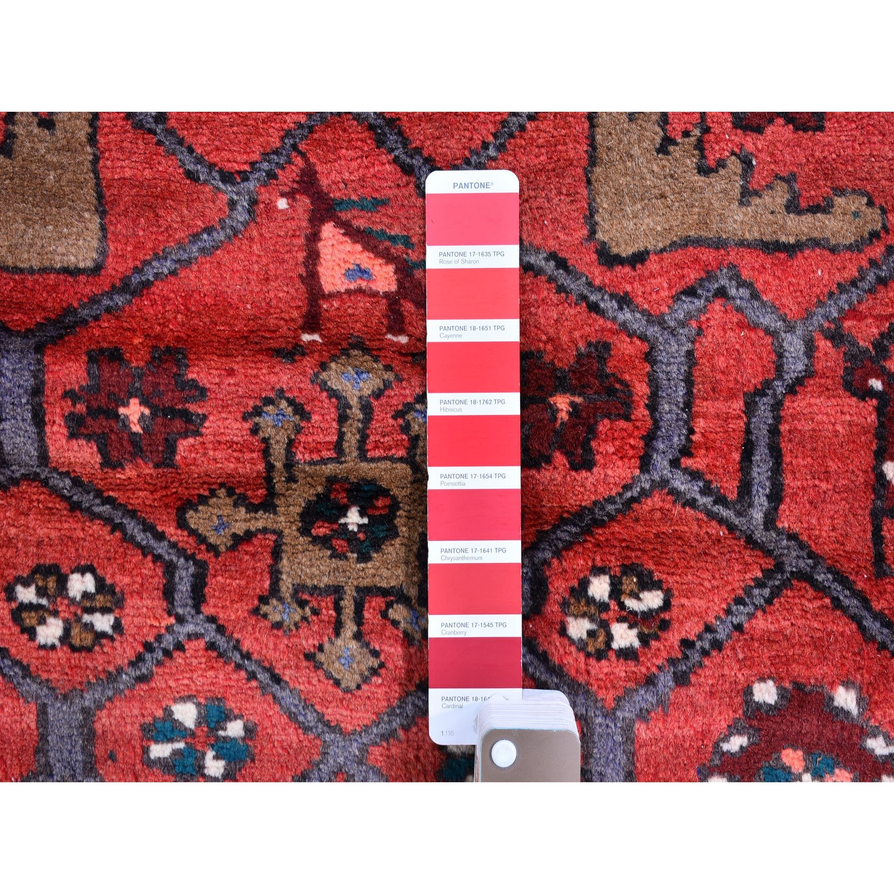 "4'1""x7'2"" Vintage Village Persian Hamadan with Animal Figurines Pure Wool Hand Knotted Oriental Rug"