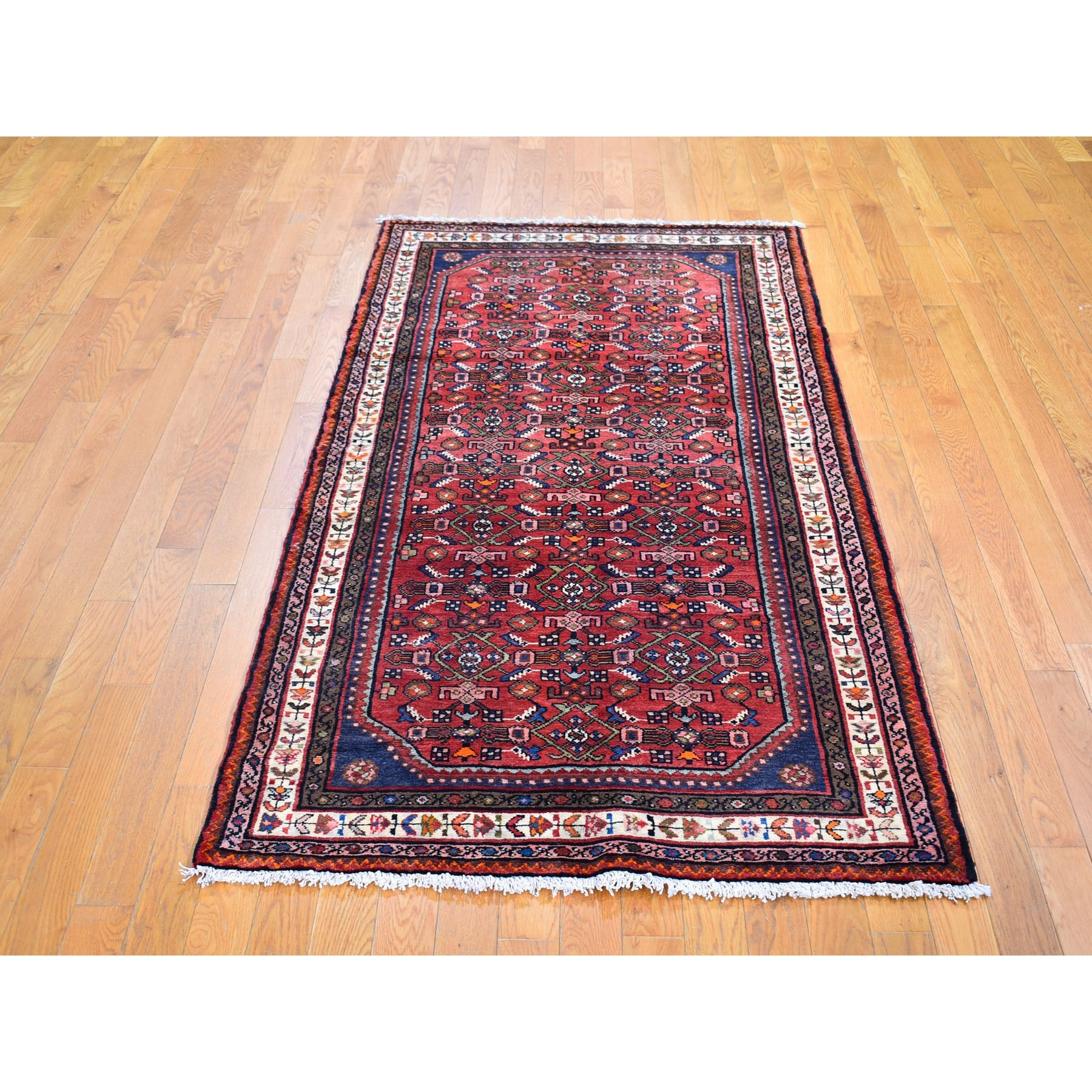 "3'7""x7'1"" Red Fish All Over Herat Design Persian Hamadan Hand Knotted Natural Wool Oriental Rug"