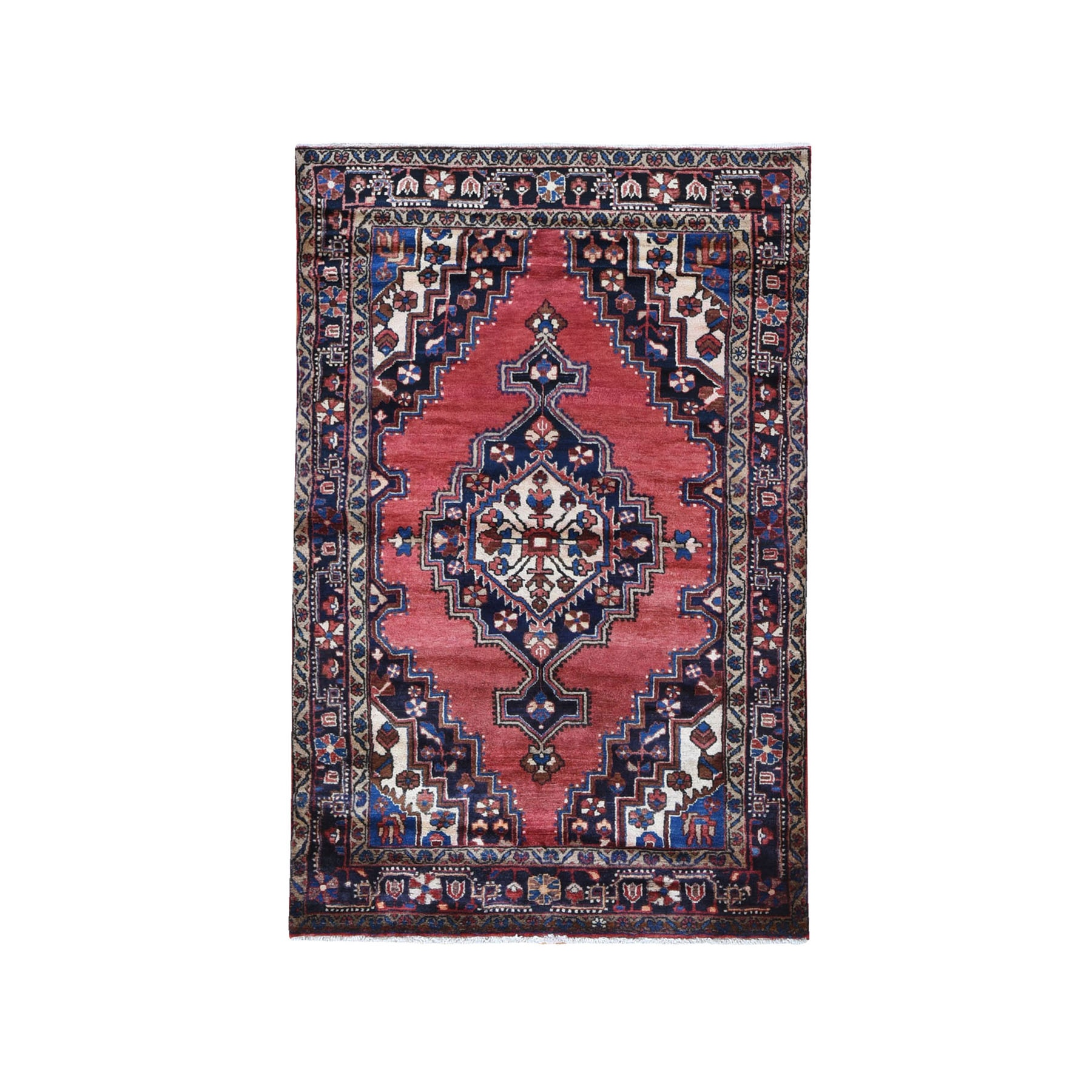 "4'3""x6'9"" New Persian Hamadan with Classic Open Field Geometric Medallion Pure Wool Hand Knotted Oriental Rug"