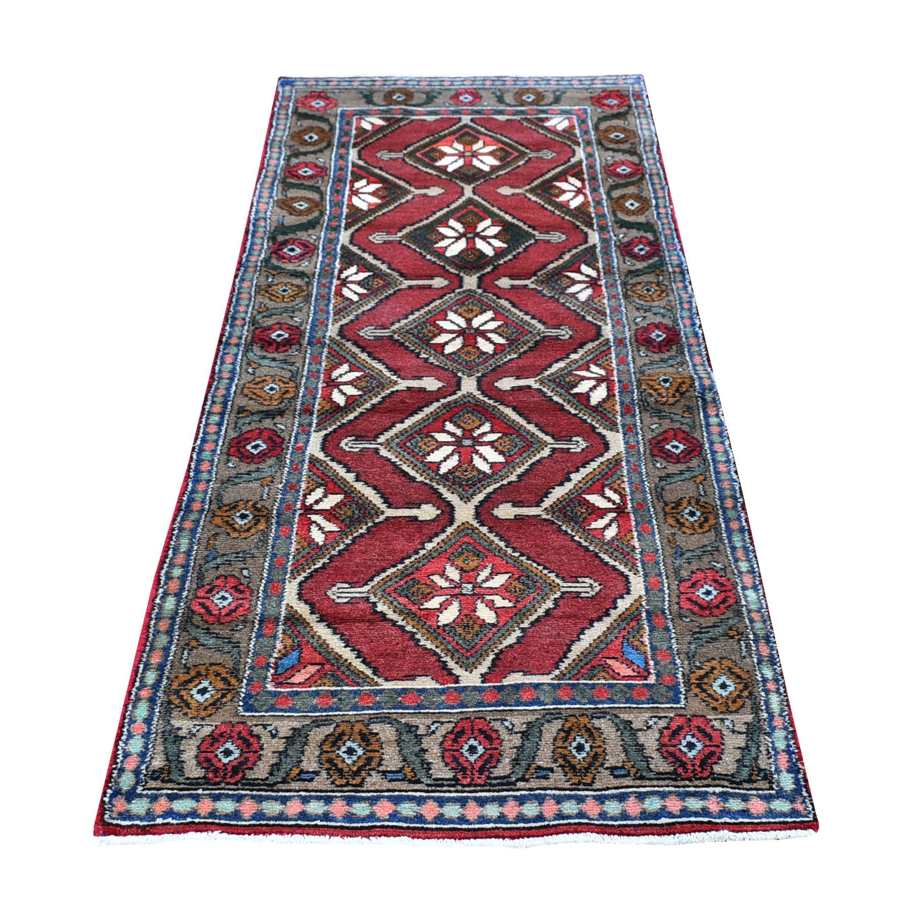 "2'7""x7'9"" New Persian Hamadan with Geometric Medallions Design Organic Wool Hand Knotted Runner Oriental Rug"