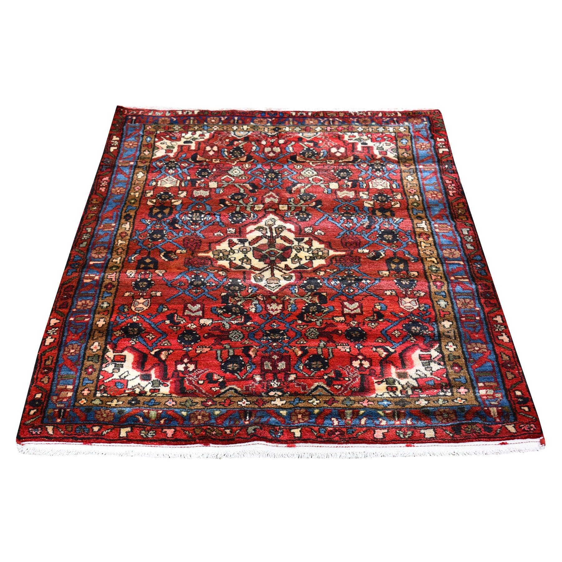 "3'6""x5'2"" New Persian Hamadan with Geometric Medallion Design Pure Wool Hand Knotted Oriental Rug"
