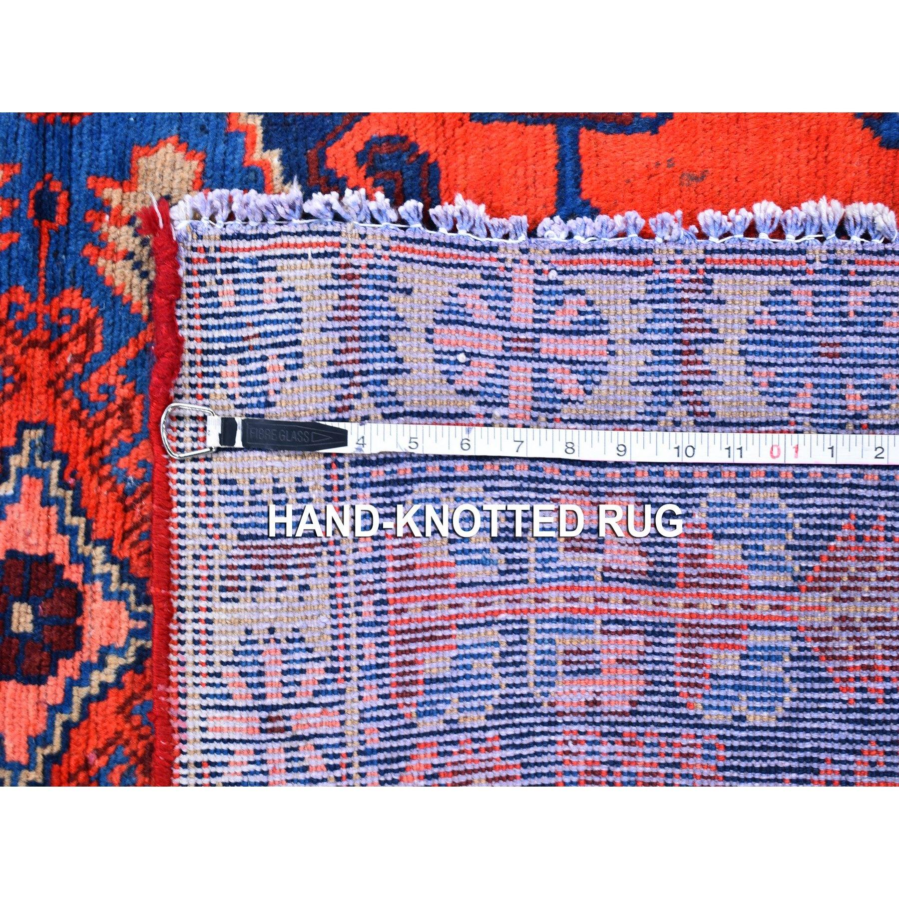 "3'6""x5'1"" New Persian Viss Organic Wool Vivid Orange Red Hand Knotted Oriental Rug"