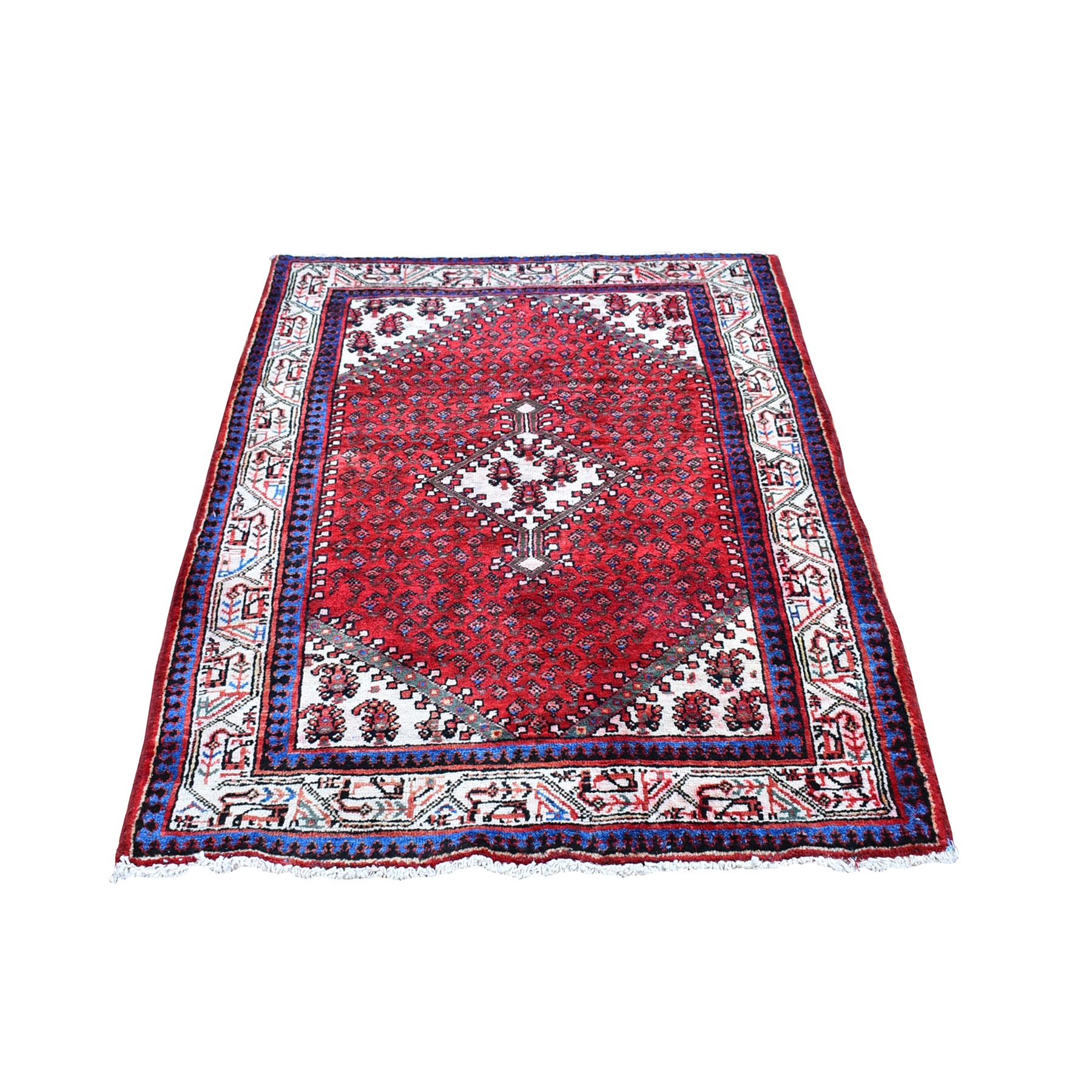 "3'7""x5' Red Vintage Persian Sarouk Mir Good Condition Repetitive  Design with Geometric Pure Wool Hand Knotted Oriental Rug"