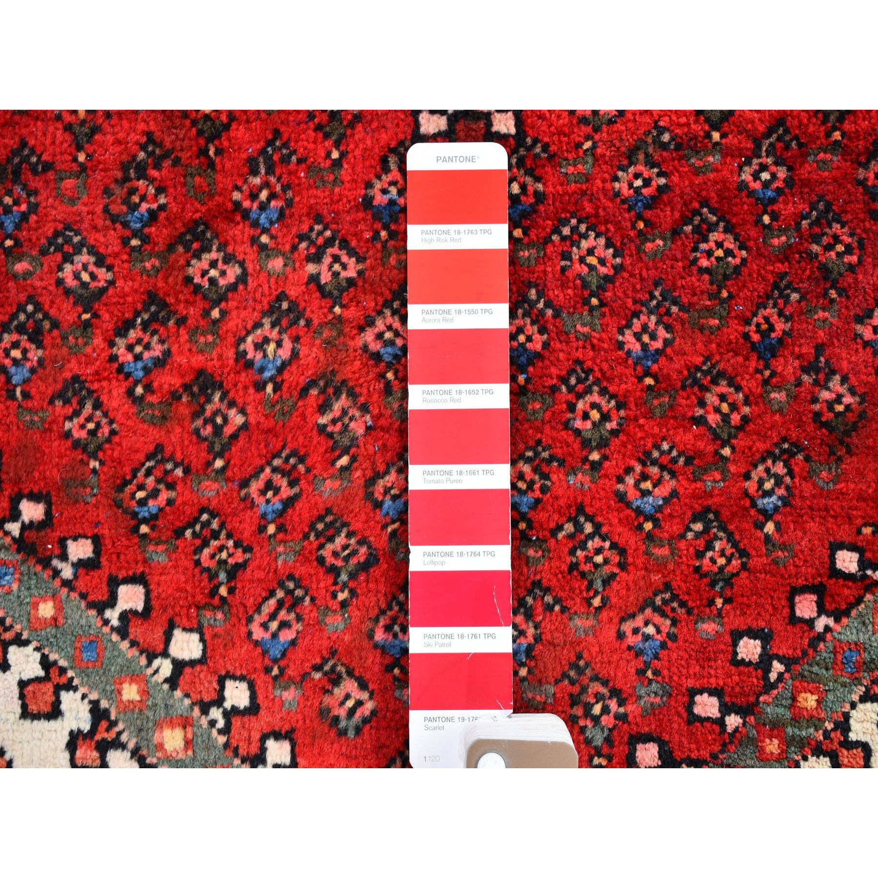 """3'7""""x5' Red Vintage Persian Sarouk Mir Good Condition Repetitive  Design with Geometric Pure Wool Hand Knotted Oriental Rug"""