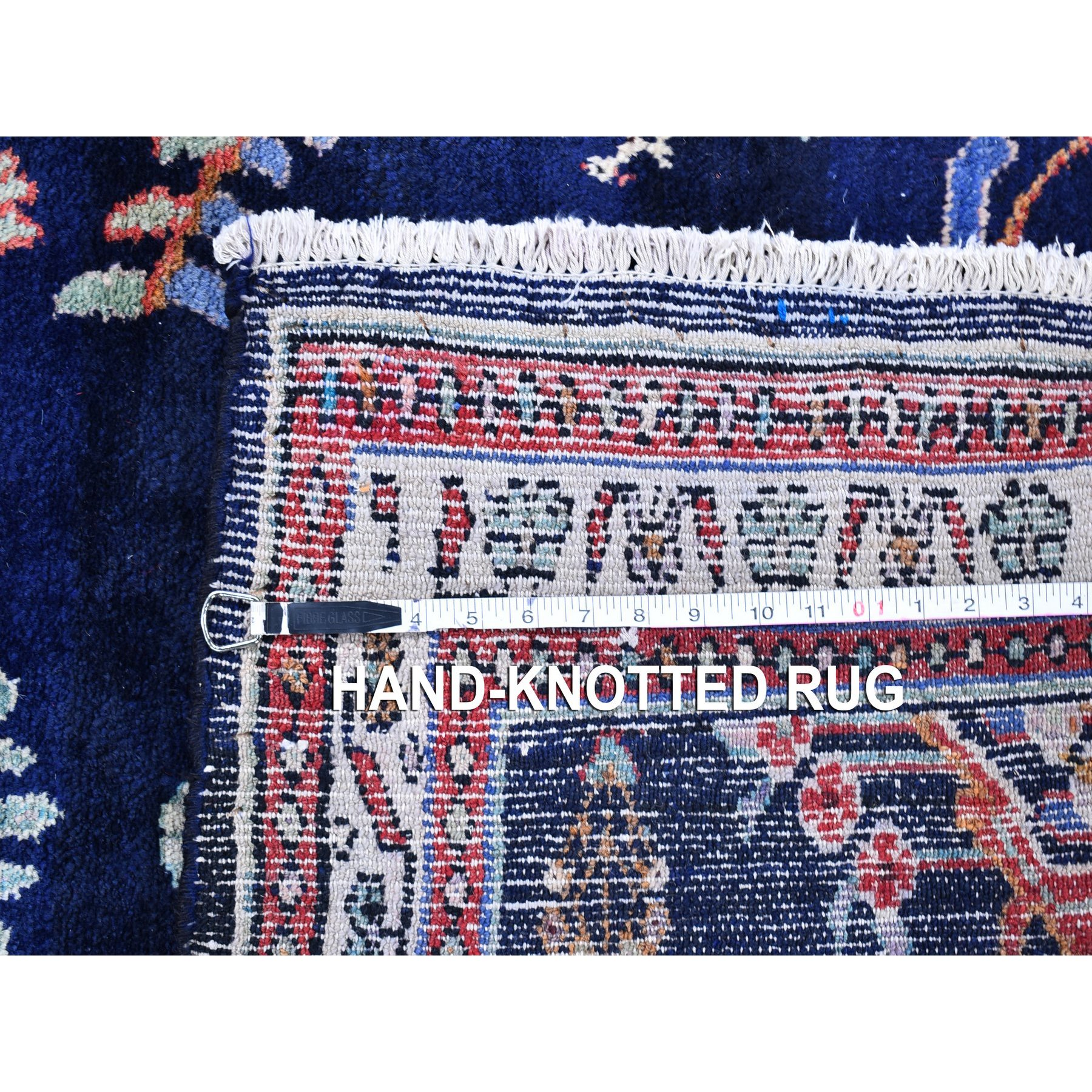 """3'8""""x6'1"""" Navy Blue Vintage Persian Lilihan Excellent Condition Pure Wool Hand Knotted Oriental Rug"""