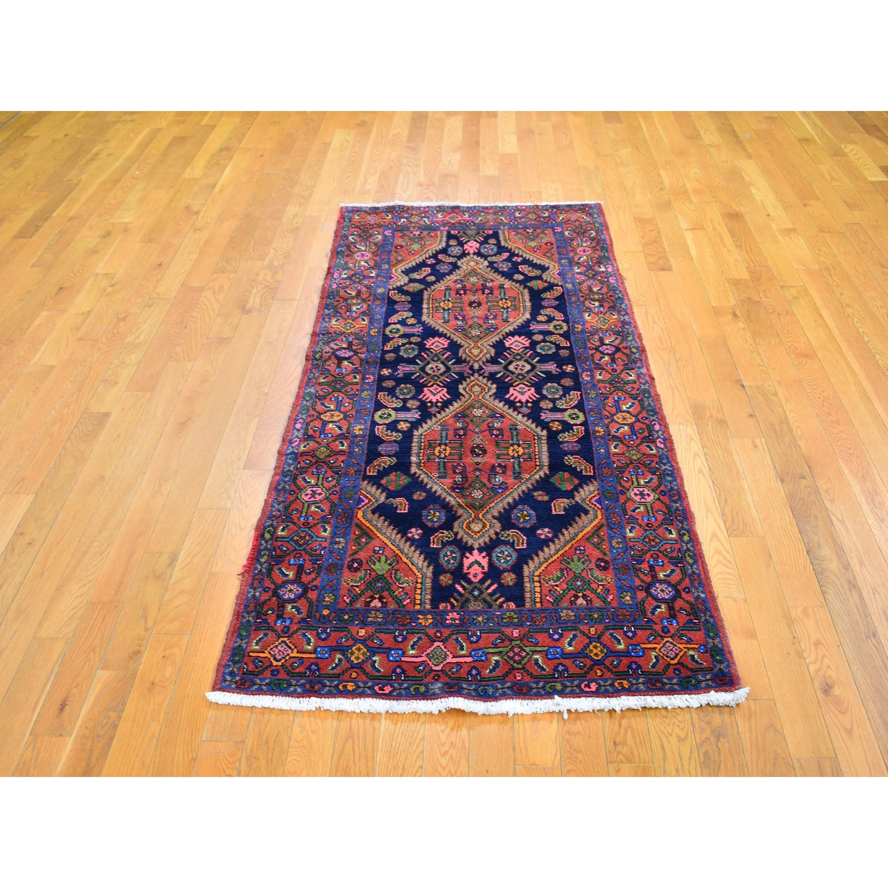 """3'4""""x7'7"""" Vintage Persian Hamadan Full Pile Excellent Condition Two Medallions Design Pure Wool Hand Knotted Oriental Rug"""
