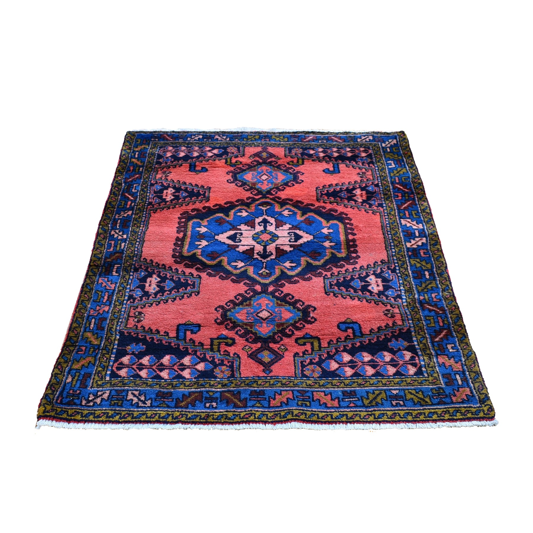 """3'4""""x5'1"""" Pink Natural Wool Excellent Condition Full Pile Vintage Persian Viss Hand Knotted Oriental Rug"""