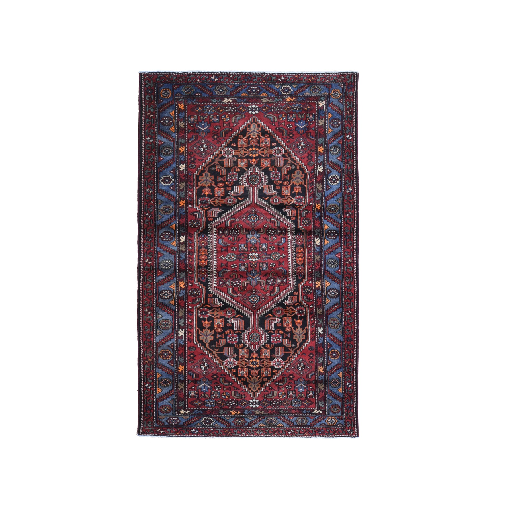 "4'8""x8' Red Old Persian Hamadan Excellent Condition Organic Wool Hand Knotted Oriental Rug"