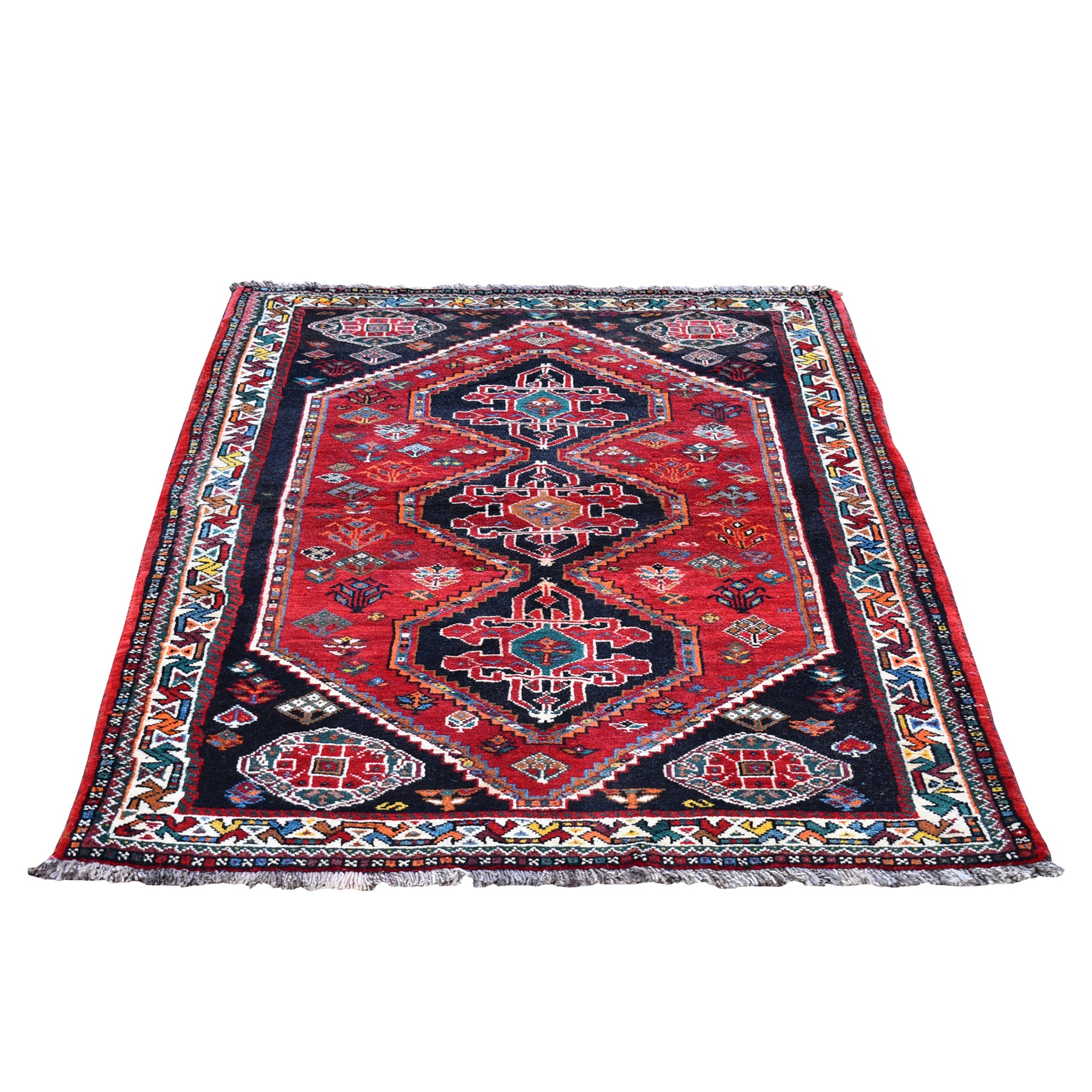 "3'9""x5'8"" Red New Persian Shiraz with Abrash Hand Knotted Organic Wool Oriental Rug"