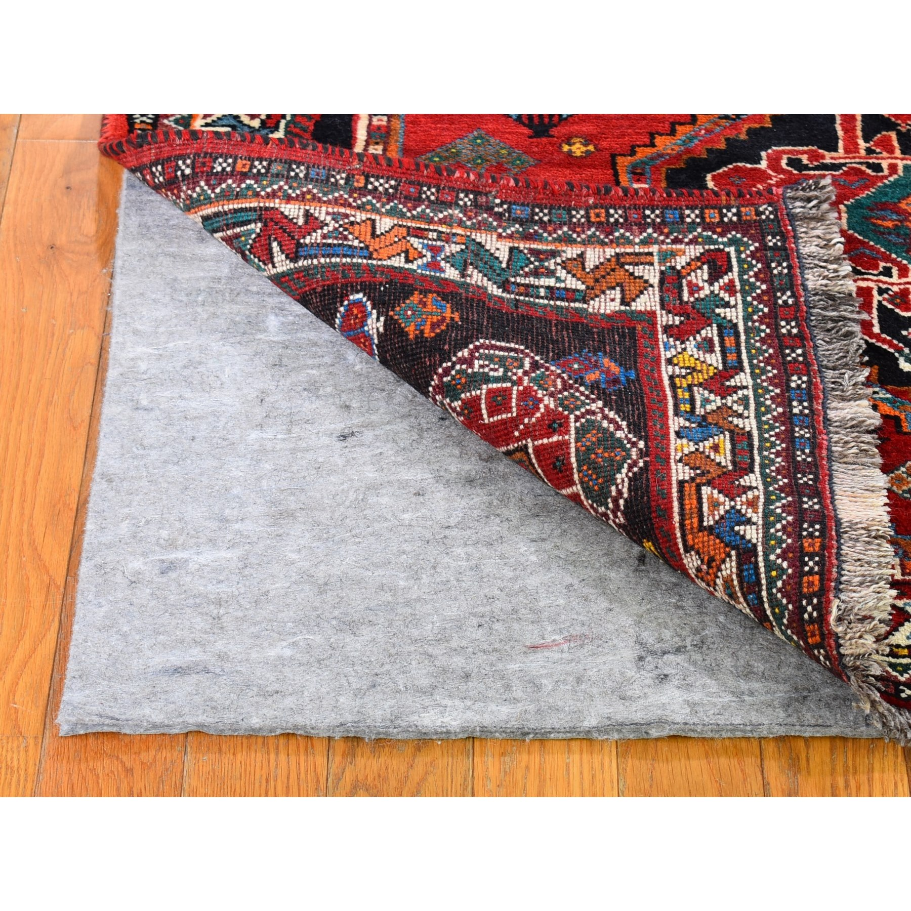"""3'9""""x5'8"""" Red New Persian Shiraz with Abrash Hand Knotted Organic Wool Oriental Rug"""