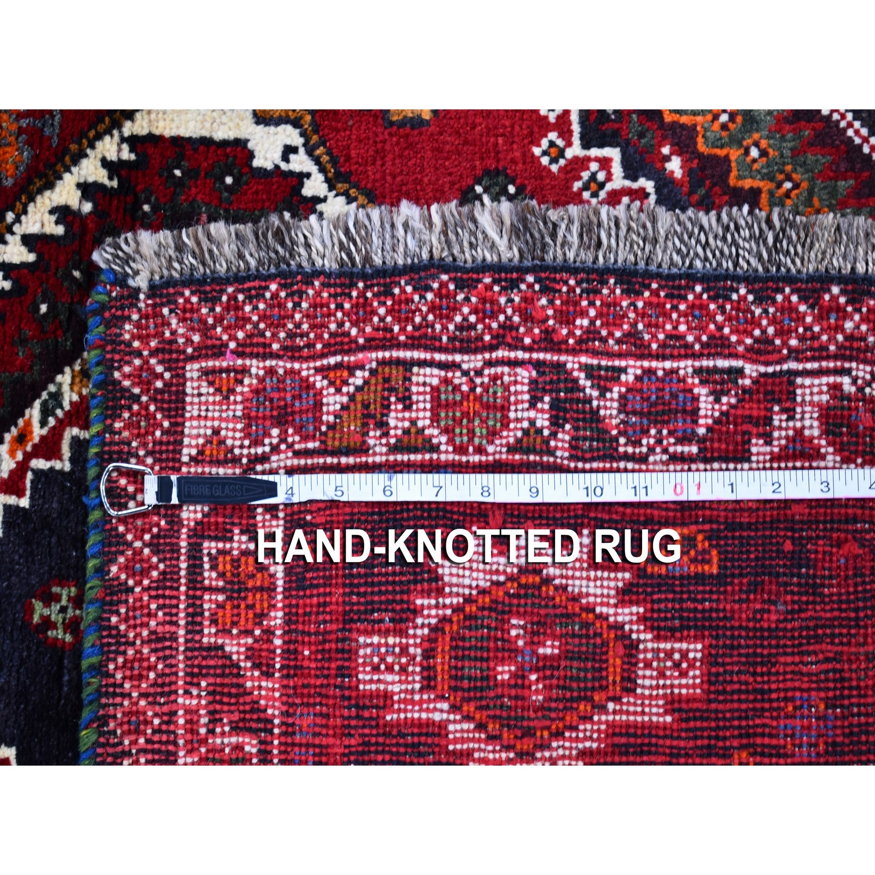 """3'10""""x5'5"""" Red Hand Knotted Double Medallion Design Pure Wool New Persian Shiraz Oriental Rug"""