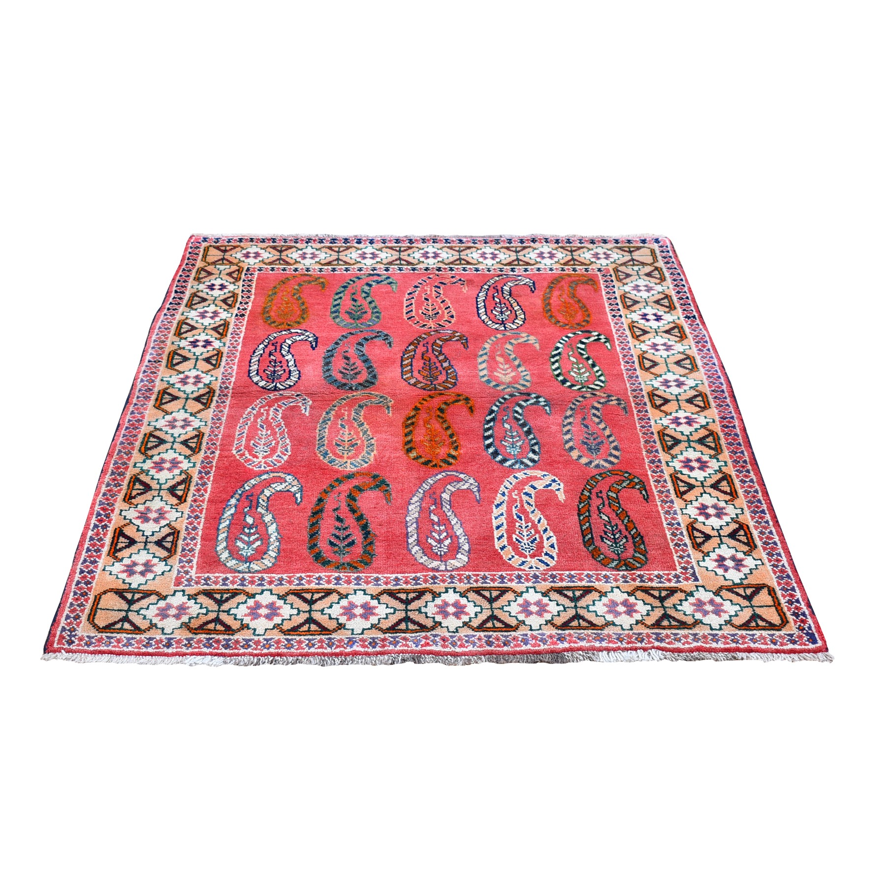 "3'10""x5'2"" Pink Vintage Persian Afshar with Paisley Boteh Design Pure Wool Hand Knotted Oriental Rug"