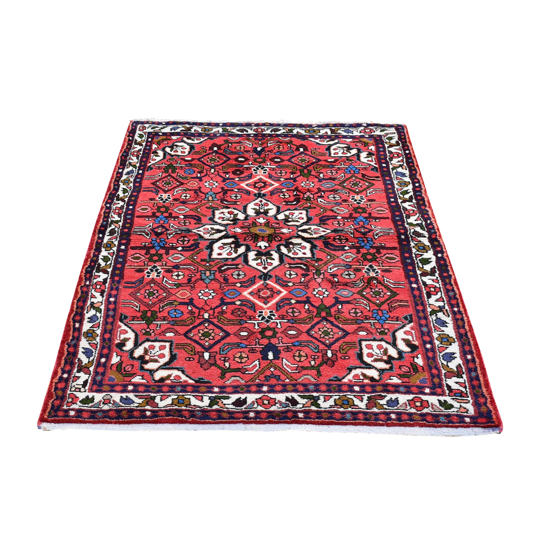 "3'5""x5'6"" Organic Wool New Persian Hamadan Flower Medallion Design Pink Hand Knotted Oriental Rug"