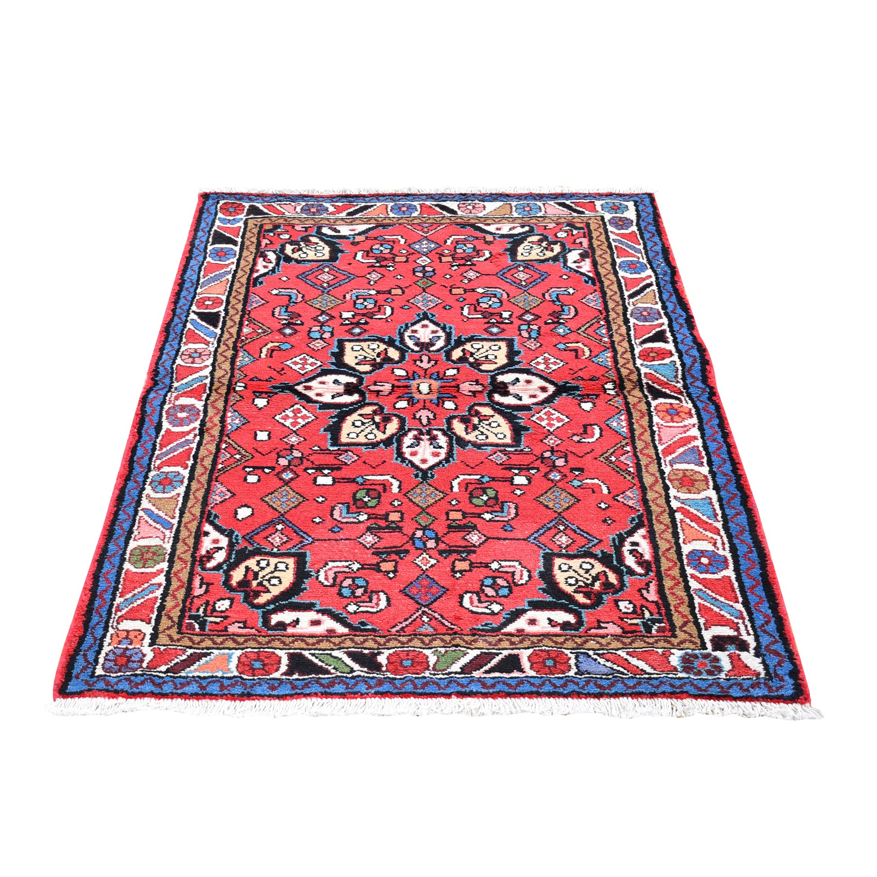 "3'3""x5' Red New Persian Hamadan Flower Medallion Design Organic Wool Hand Knotted Oriental Rug"