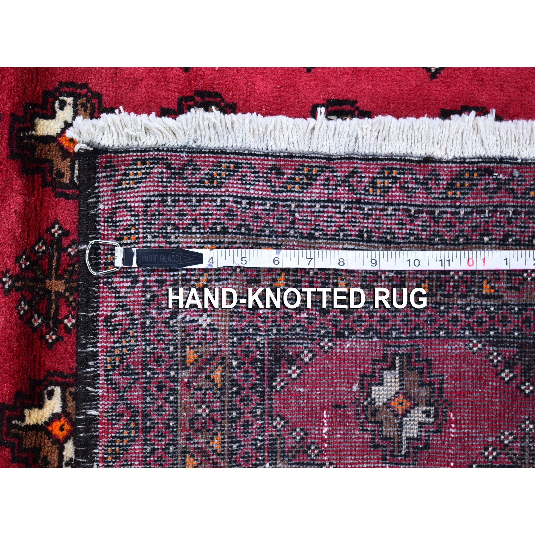 """3'x5'4"""" Red Vintage Persian Baluch Natural Wool Hand Knotted Oriental Rug"""