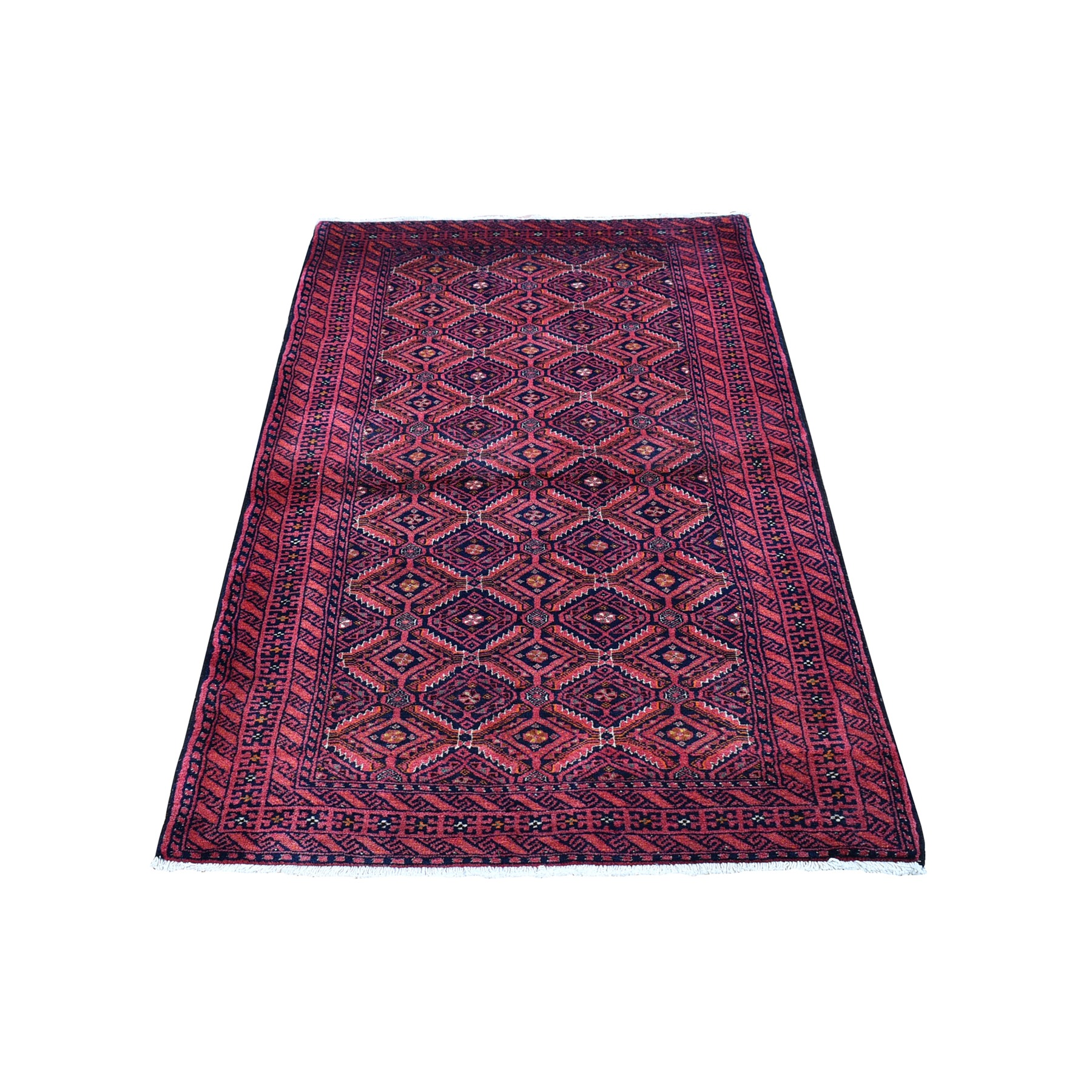"""3'x5'10"""" Vintage Persian Baluch Excellent Condition Saturated Colors Pure Wool Hand Knotted Oriental Rug"""