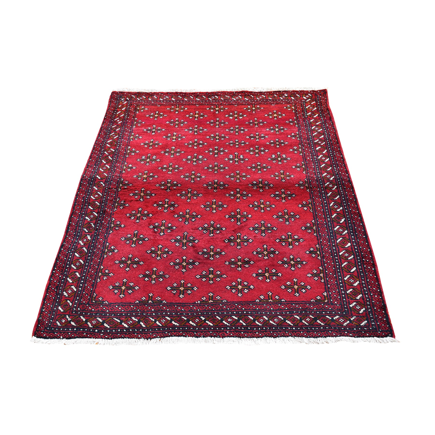 "3'4""x5'1"" Vintage Persian Baluch with Repetitive Design Pure Wool Hand Knotted Oriental Rug"