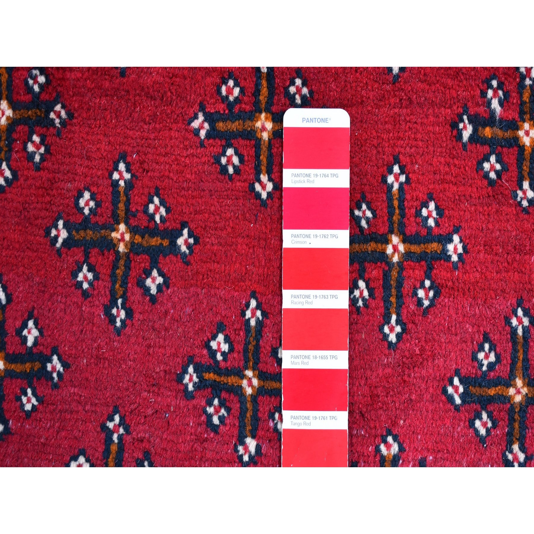 """3'4""""x5'1"""" Vintage Persian Baluch with Repetitive Design Pure Wool Hand Knotted Oriental Rug"""