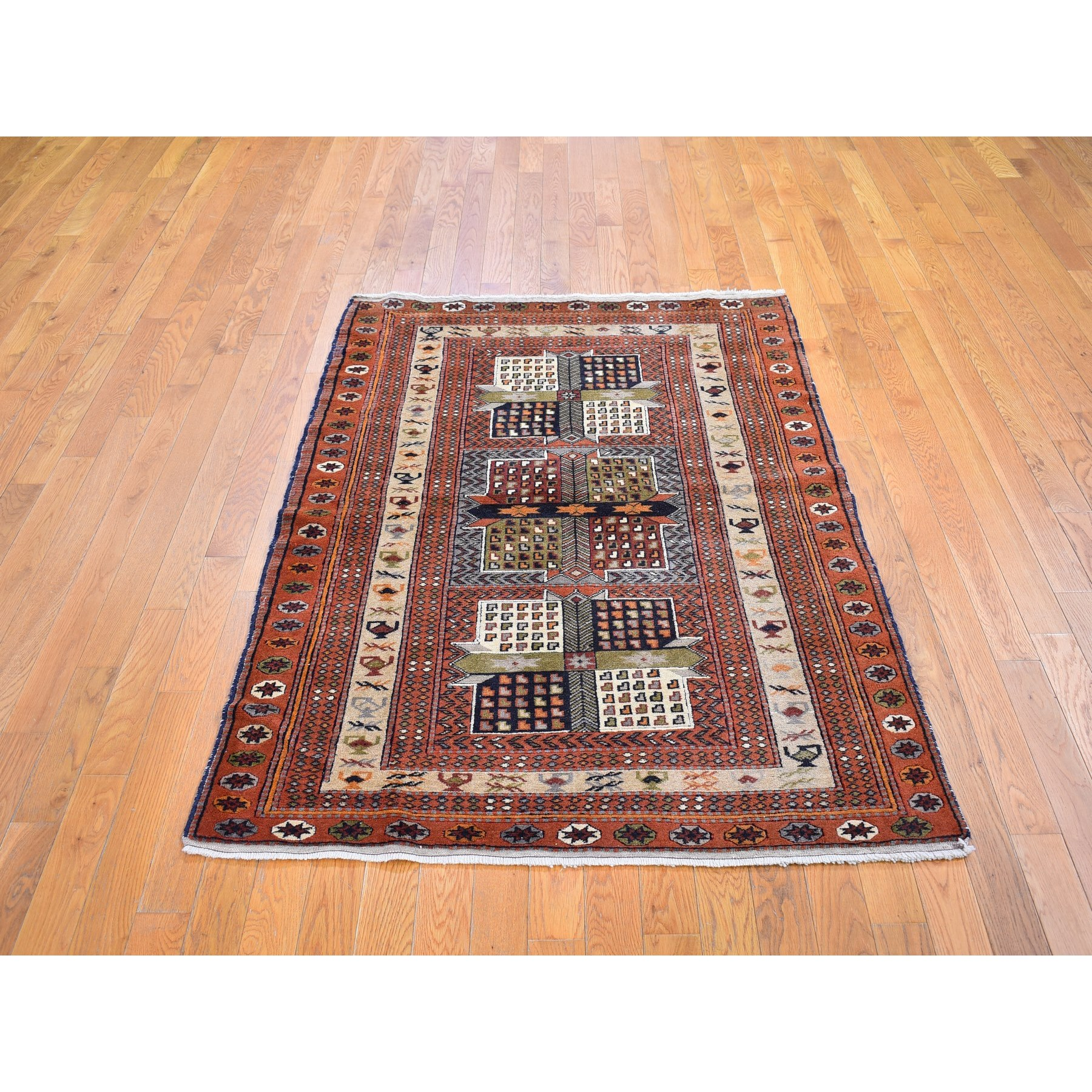 "4'x5'10"" Light Brown Vintage Persian Abadeh with Block Design Hand Knotted Natural Wool Oriental Rug"
