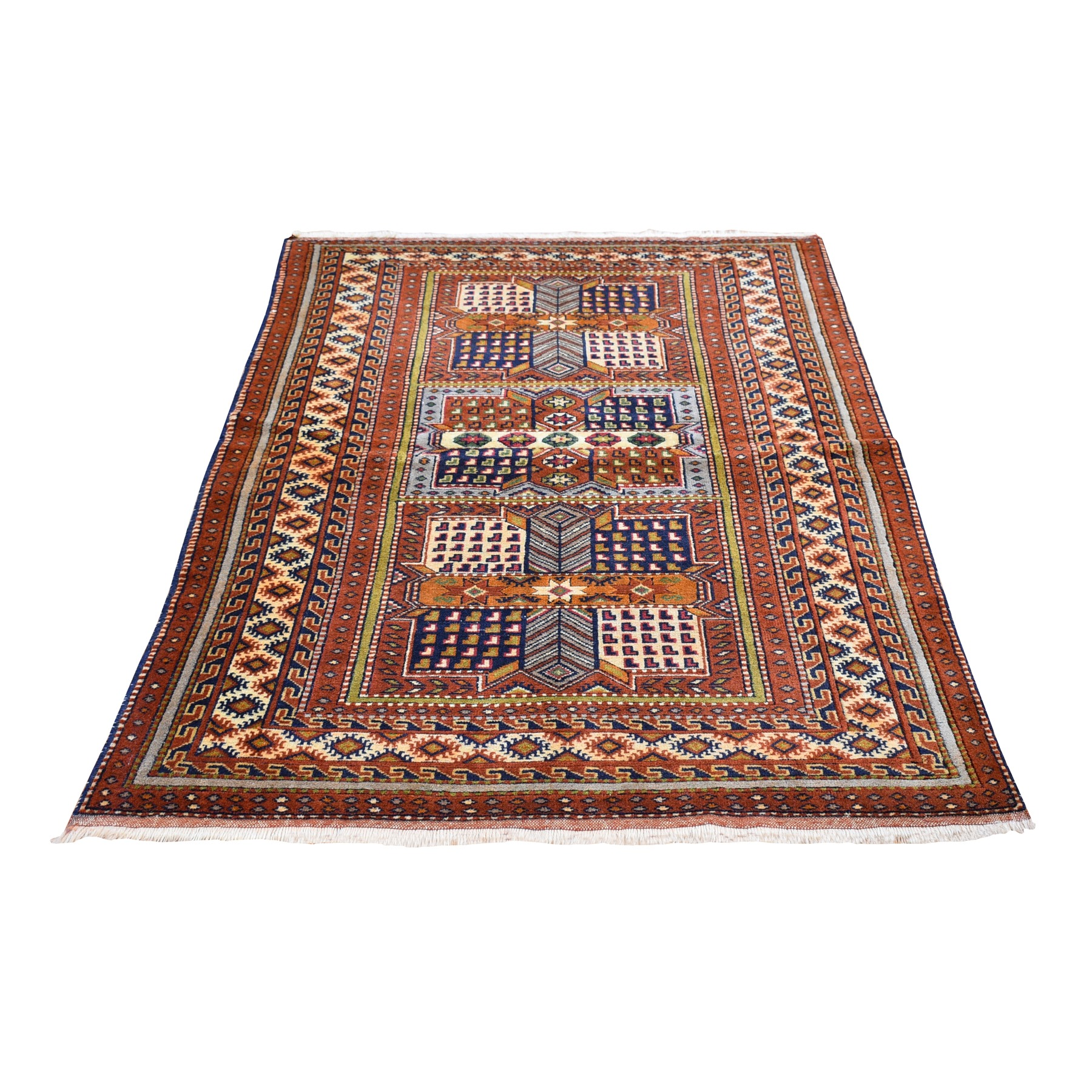 "3'9""x5'9"" Vintage Persian Abadeh with Block Design Pure Wool Hand Knotted Oriental Rug"