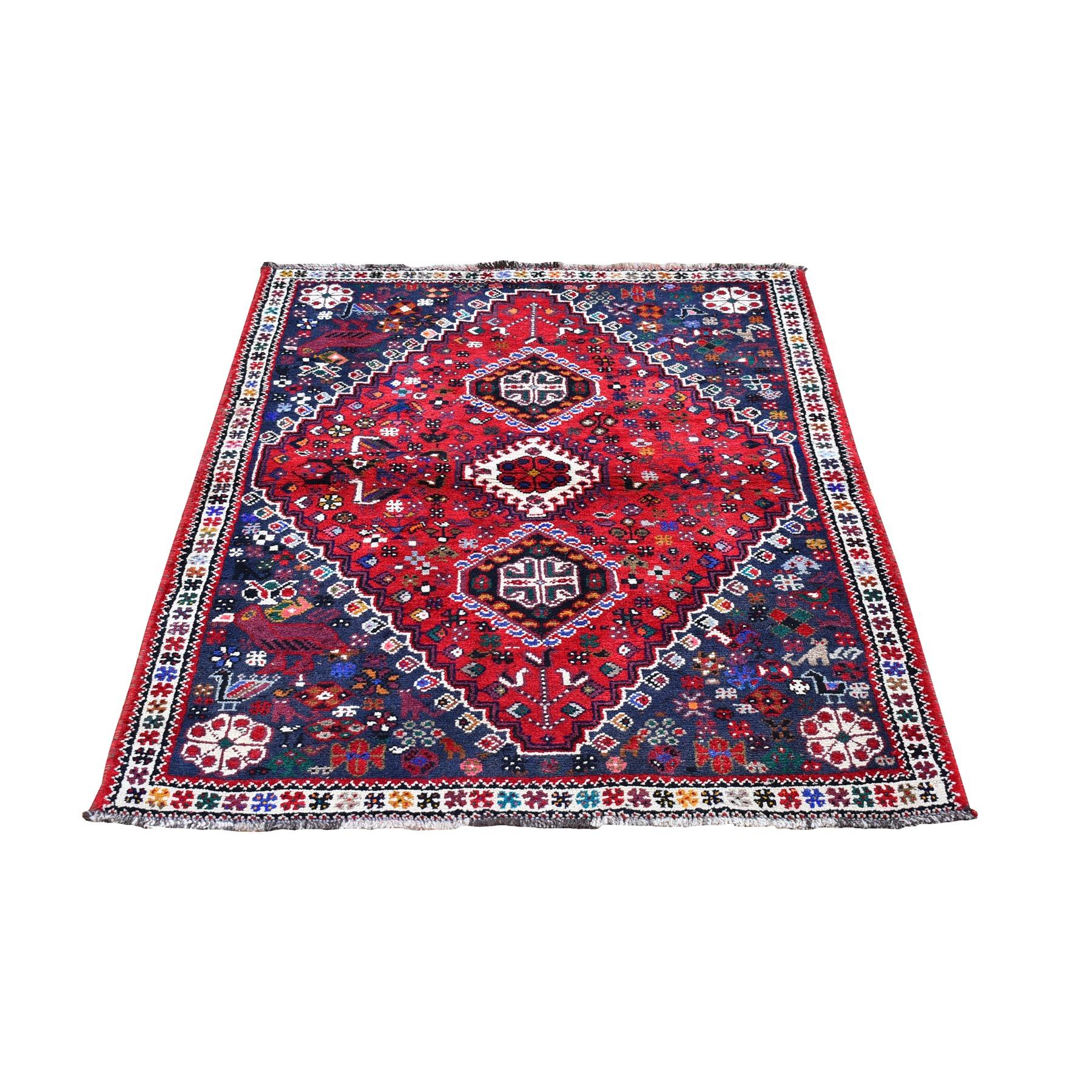 "3'10""x5'5"" New Persian Shiraz Red Organic Wool Geometric Design Hand Knotted Oriental Rug"