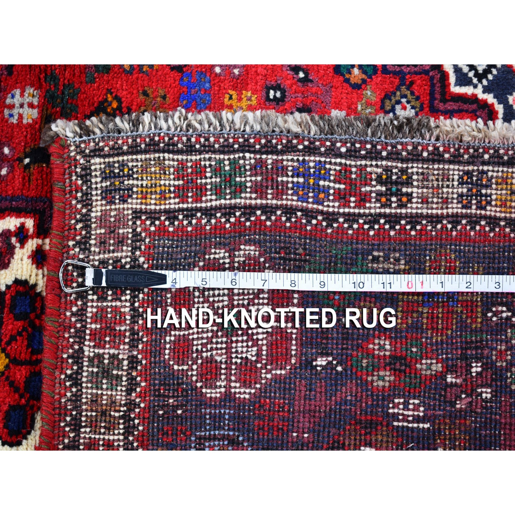 "3'10""x5'5"" New Persian Shiraz Red Organic Wool Geometric Design Hand Knotted Oriental Rug"