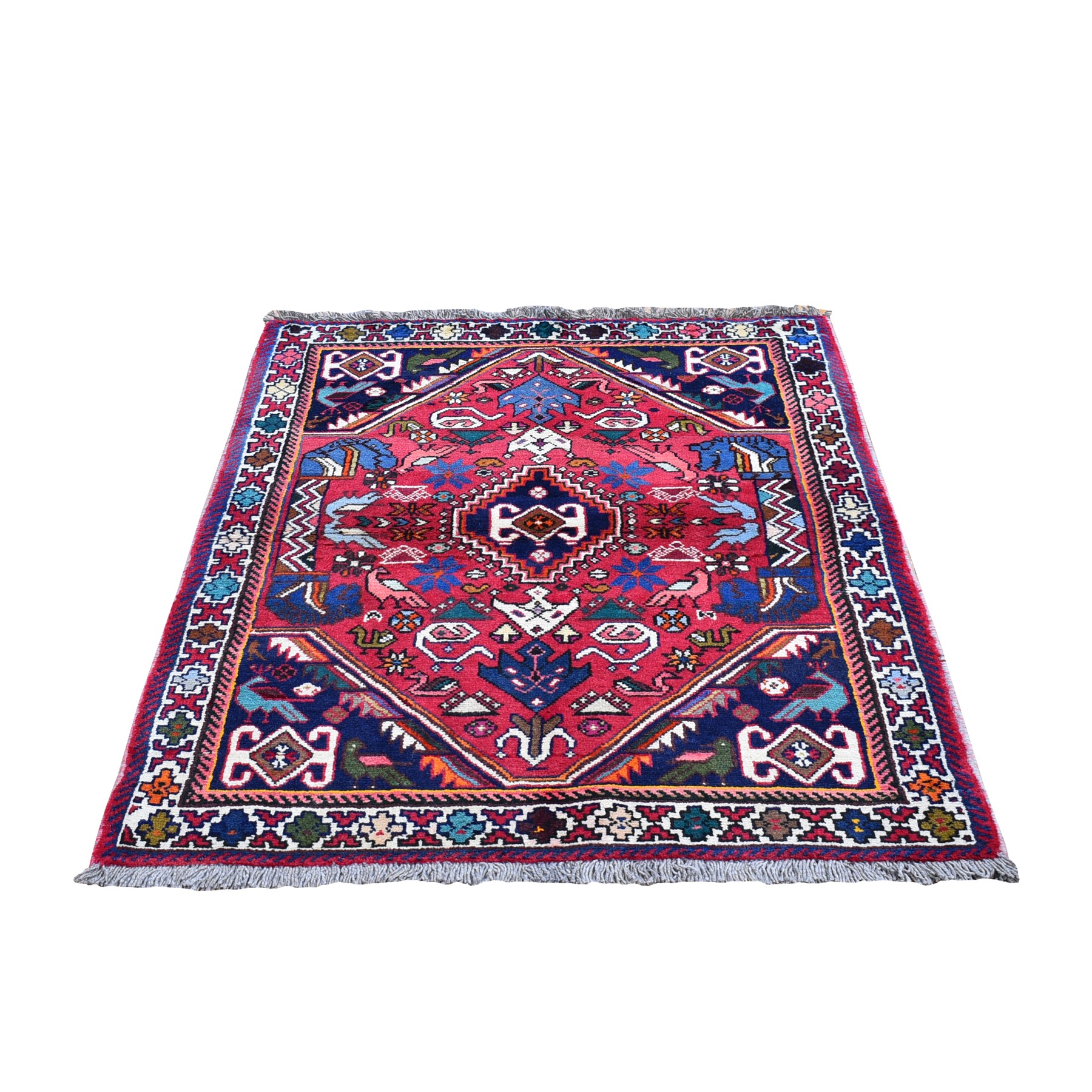 """3'5""""x4'9"""" Red New Persian Shiraz Animal Figurines Natural Wool Hand Knotted Oriental Rug"""