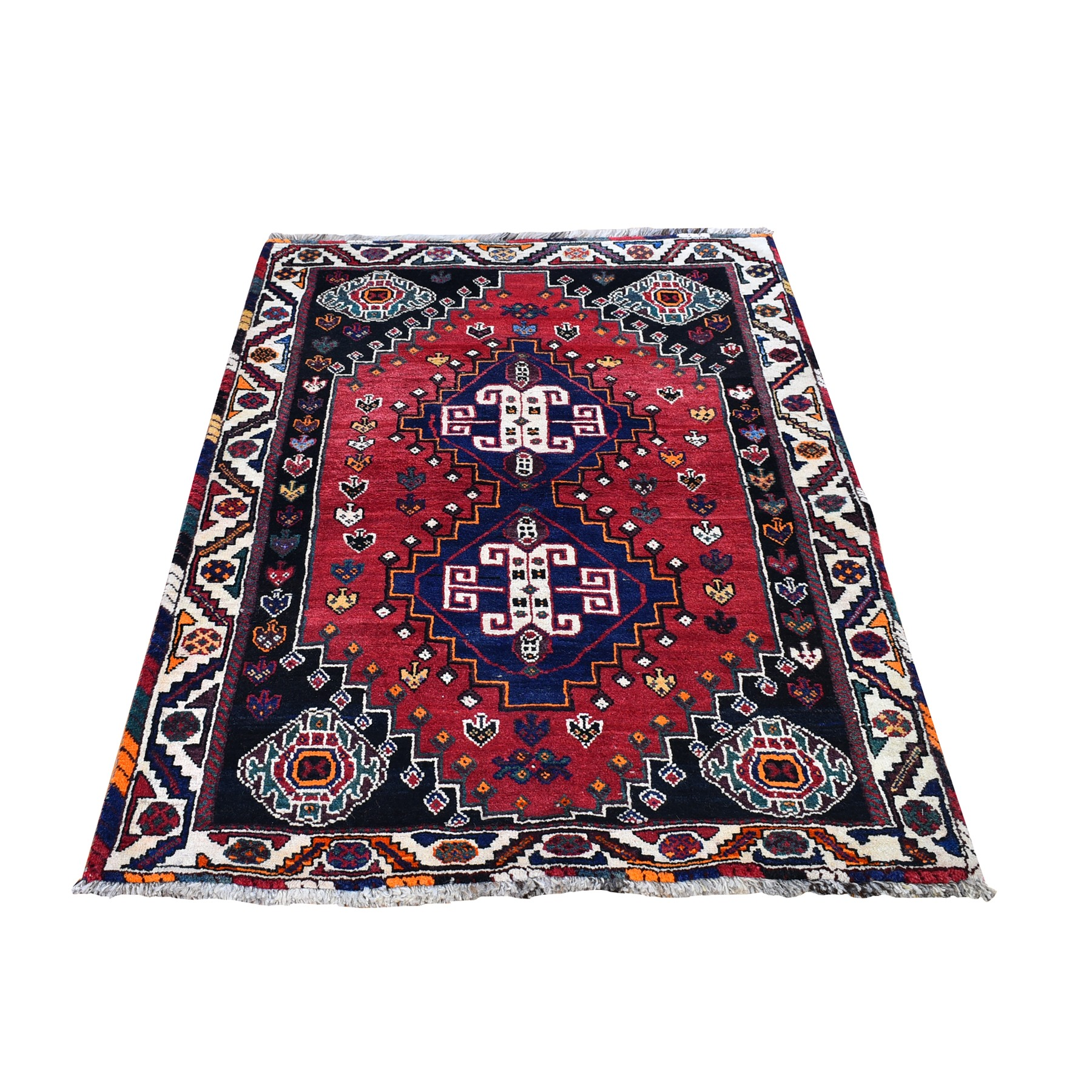 "3'8""x5'7"" Red New Persian Shiraz Geometric Design Organic Wool Hand Knotted Oriental Rug"