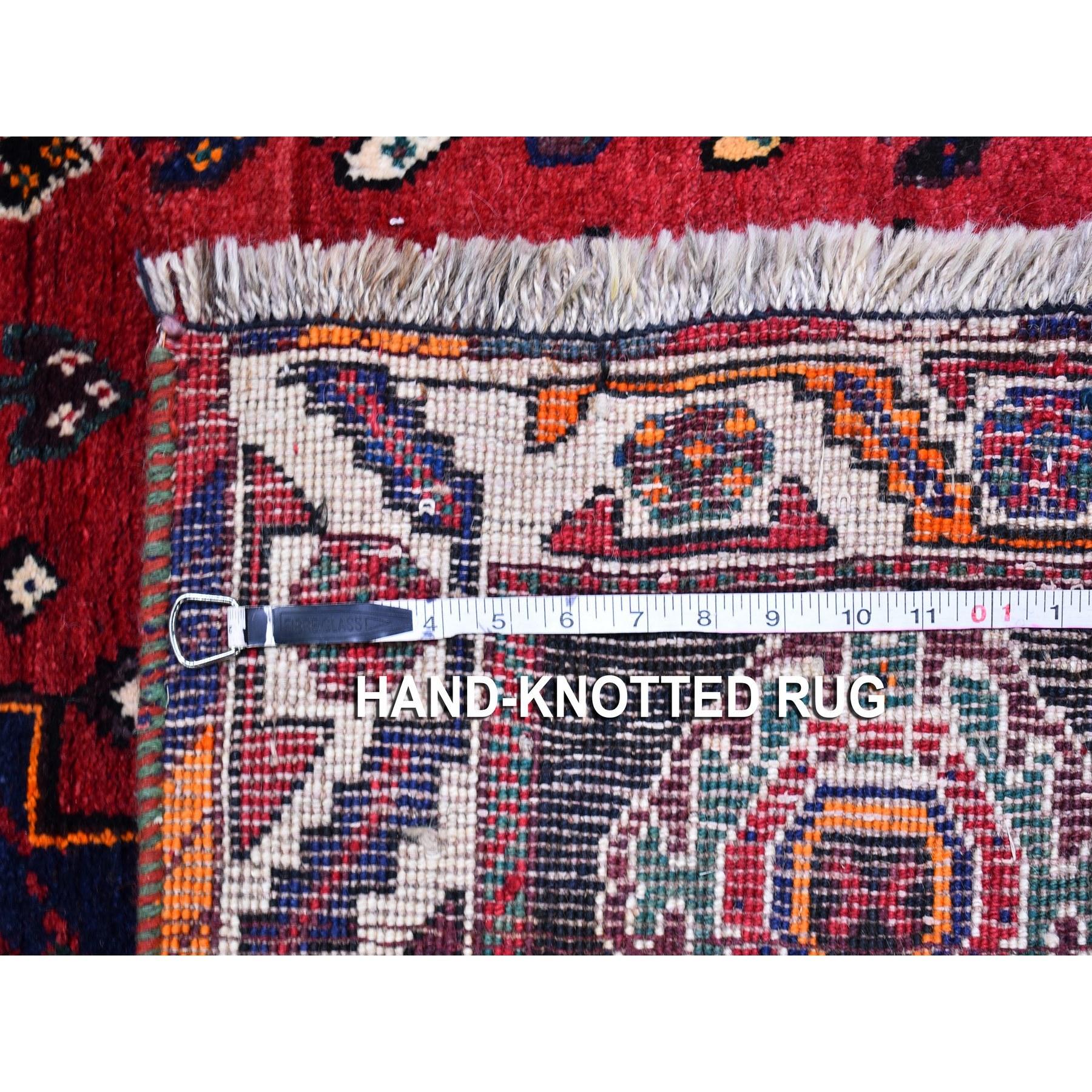 "3'8""x5'7"" Red New Persian Shiraz Geometric Design Organic Wool Hand Knotted Oriental Rug"