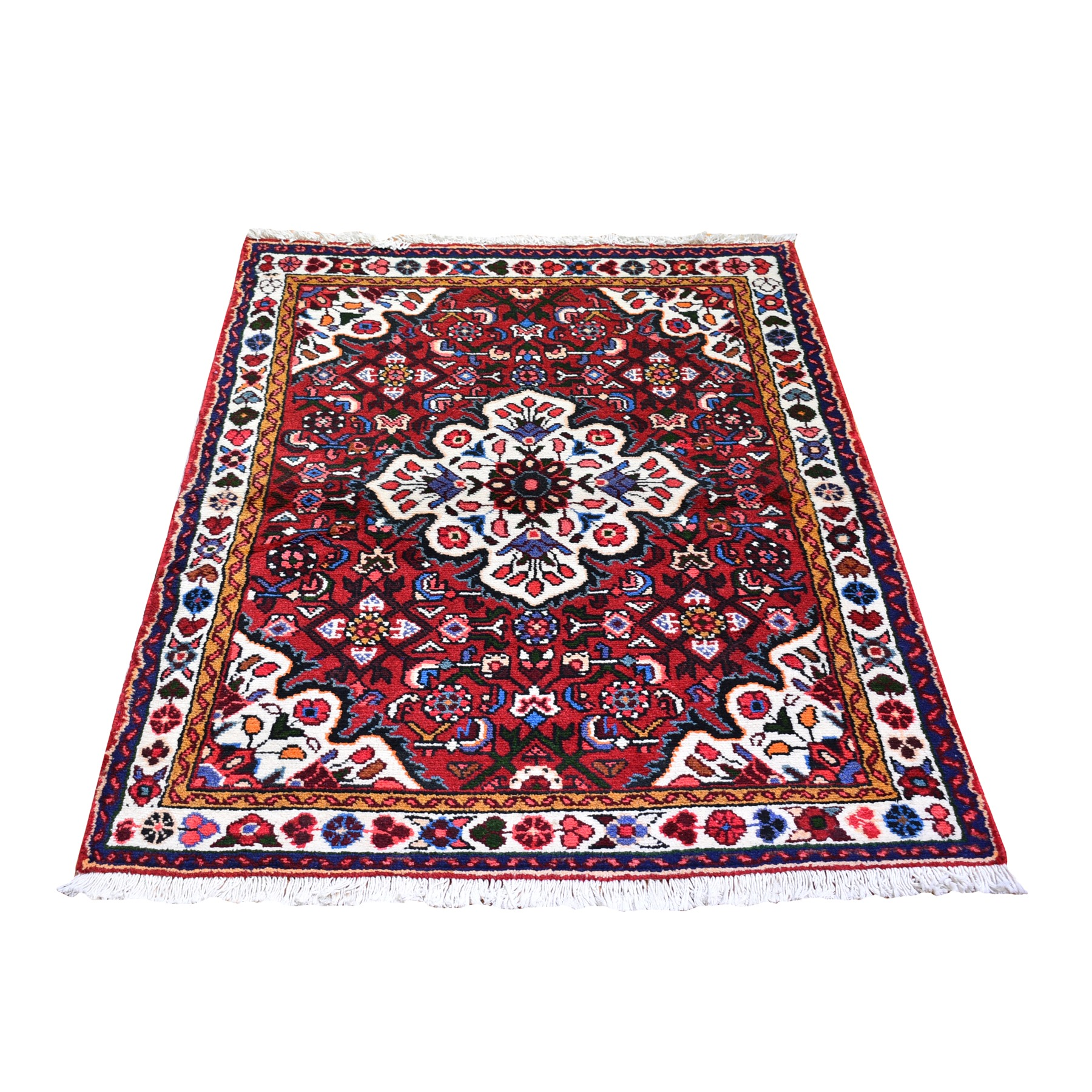 "3'3""x4'7"" Red New Persian Hamadan Flower Medallion Design Hand Knotted Oriental Rug"