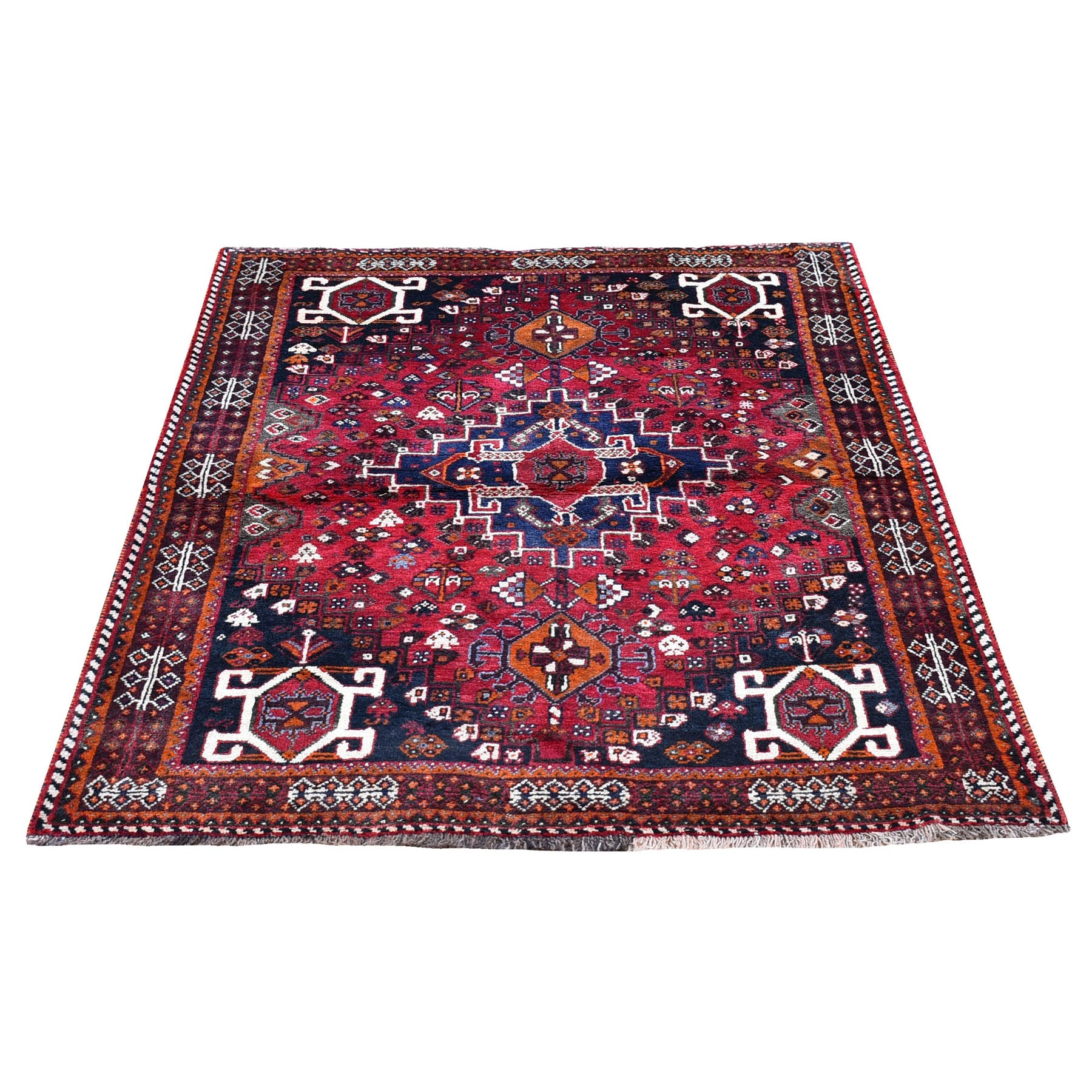 "3'10""x5'3"" Red New Persian Hamadan with Geometric Design Pure Wool Hand Knotted Oriental Rug"