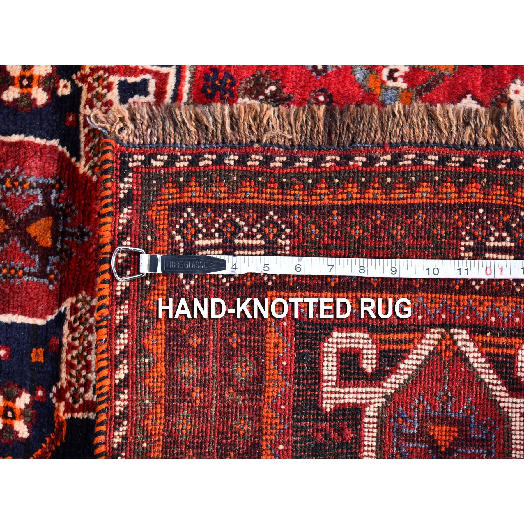 """3'10""""x5'3"""" Red New Persian Hamadan with Geometric Design Pure Wool Hand Knotted Oriental Rug"""