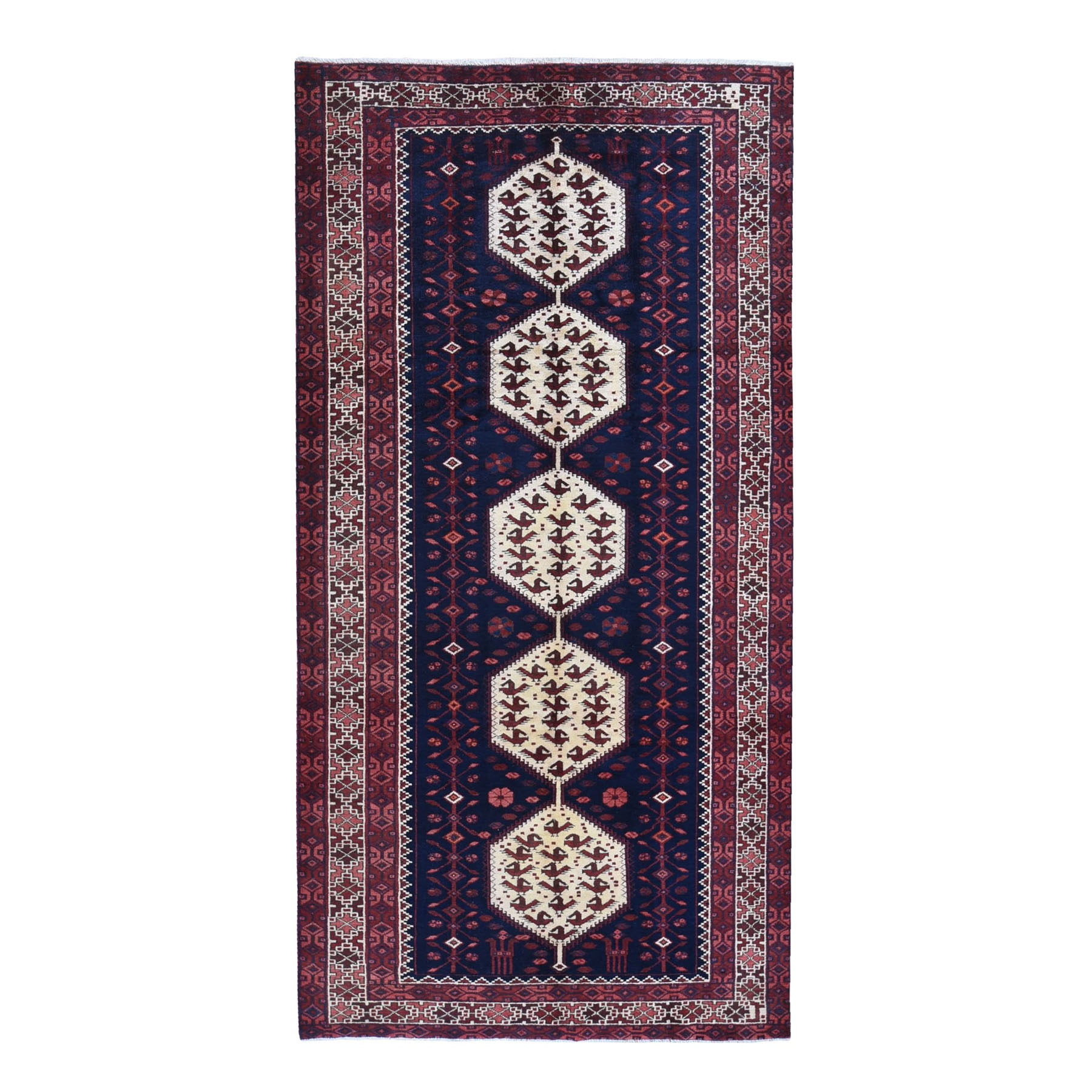5'x10' Vintage Persian Malayer Serrated Medallions with Animal Figurines Multi Border Pure Wool Hand Knotted Oriental Rug